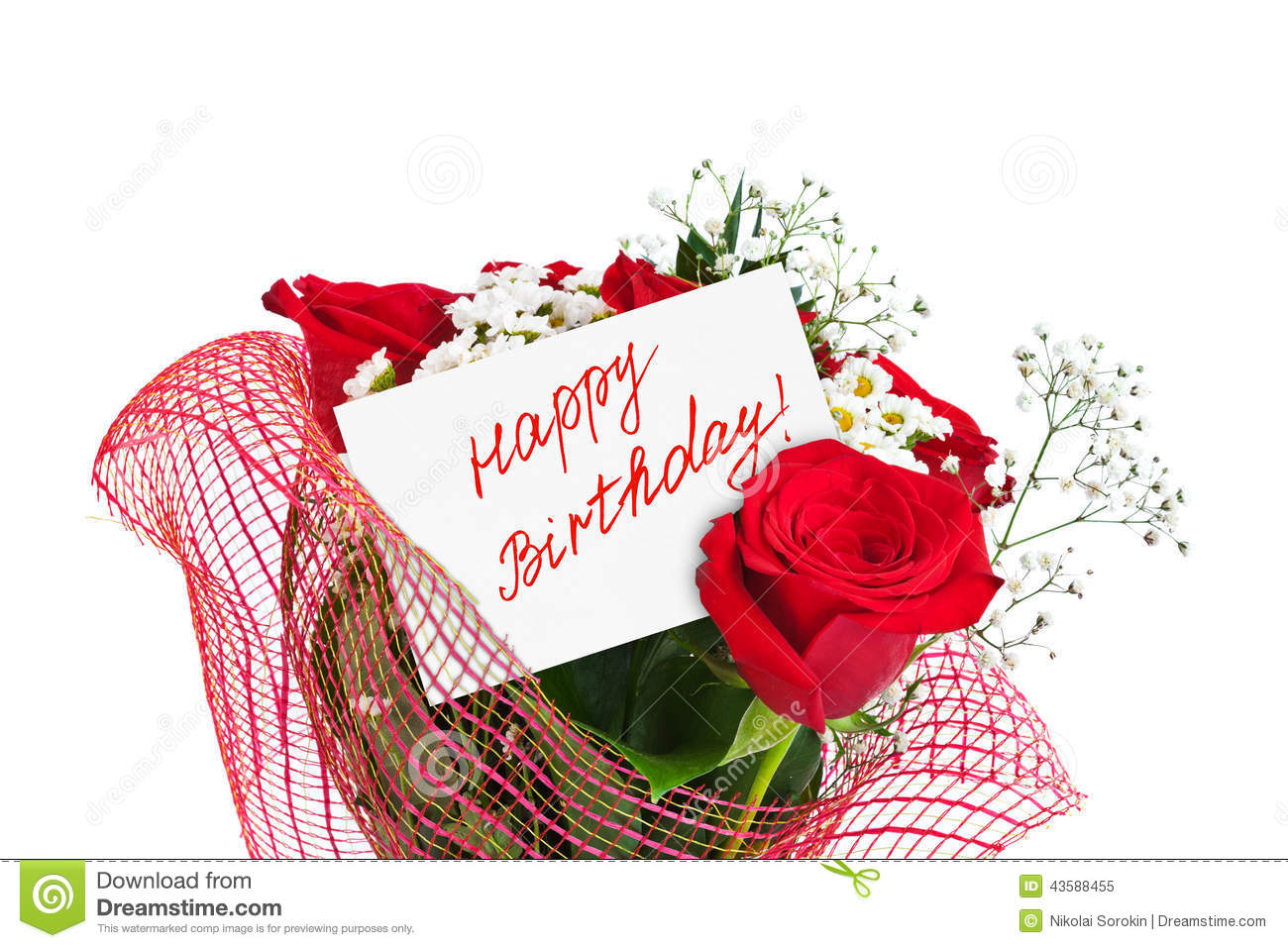 Roses Bouquet And Card Happy Birthday Stock Image Image Of Happy