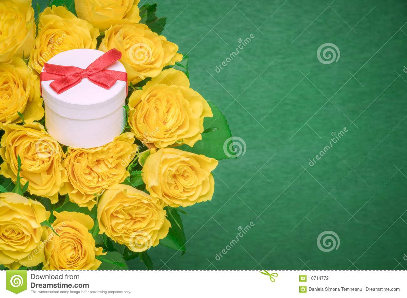 Roses Bouquet And A Gift Box Stock Image - Image of frame, card ...