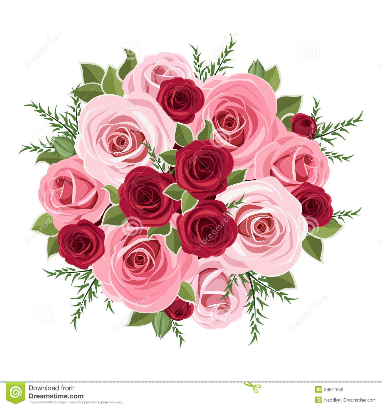 Pink Flowers Bouquet Clip Art Roses bouquet. stock photo