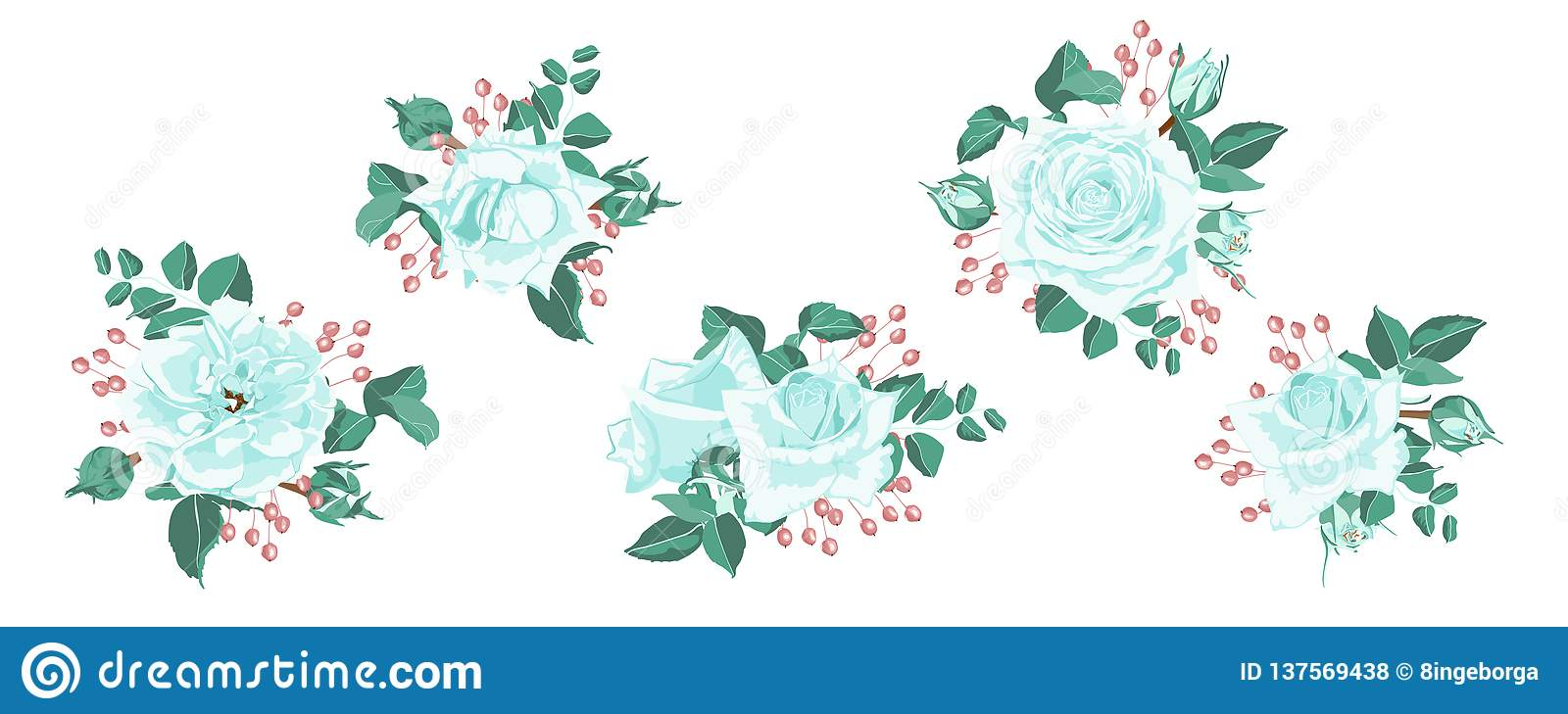 Roses Bouquet For Rustic Wedding Design  Stock Vector