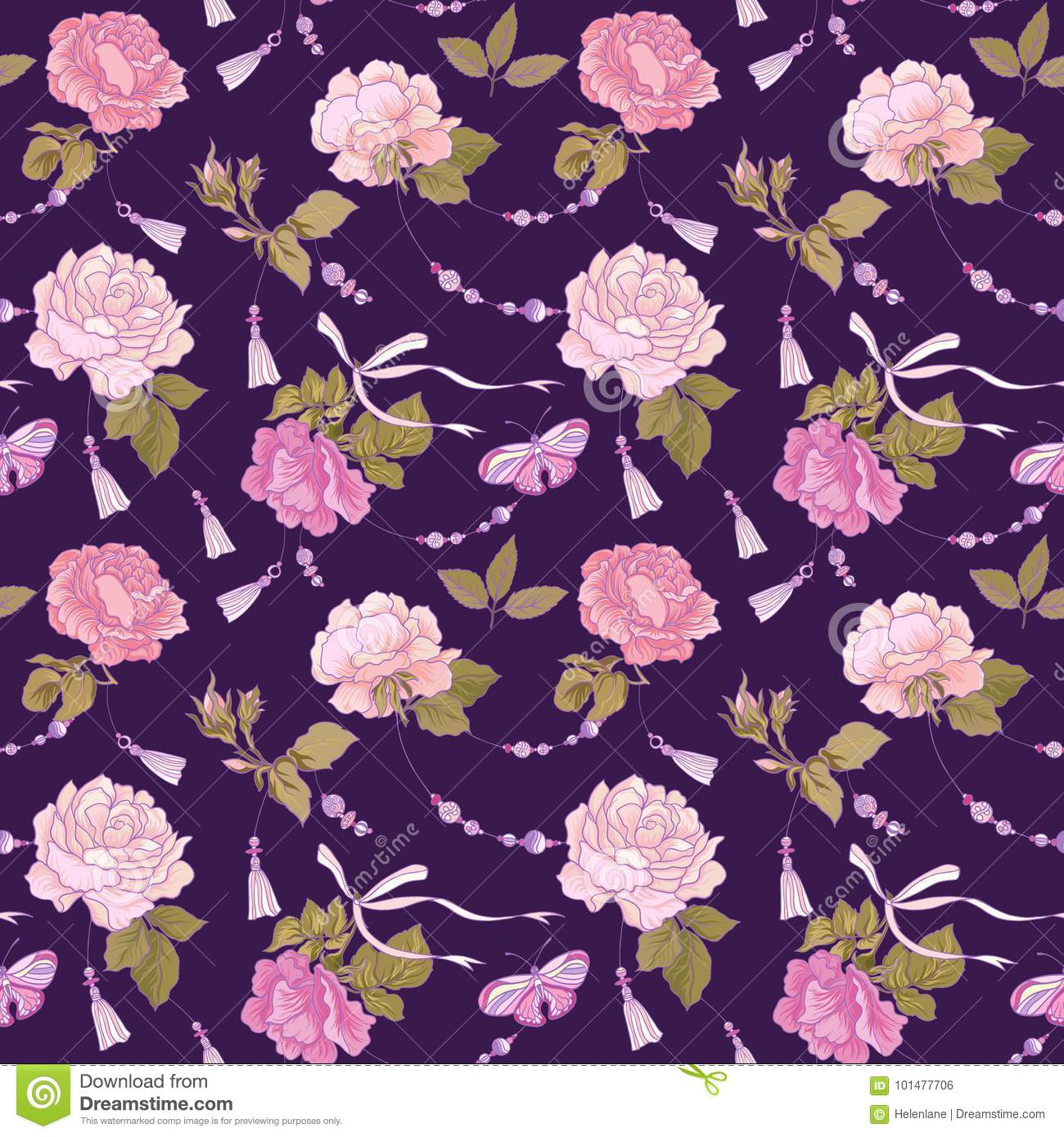 Roses And Butterflies Seamless Pattern Background In Purple A