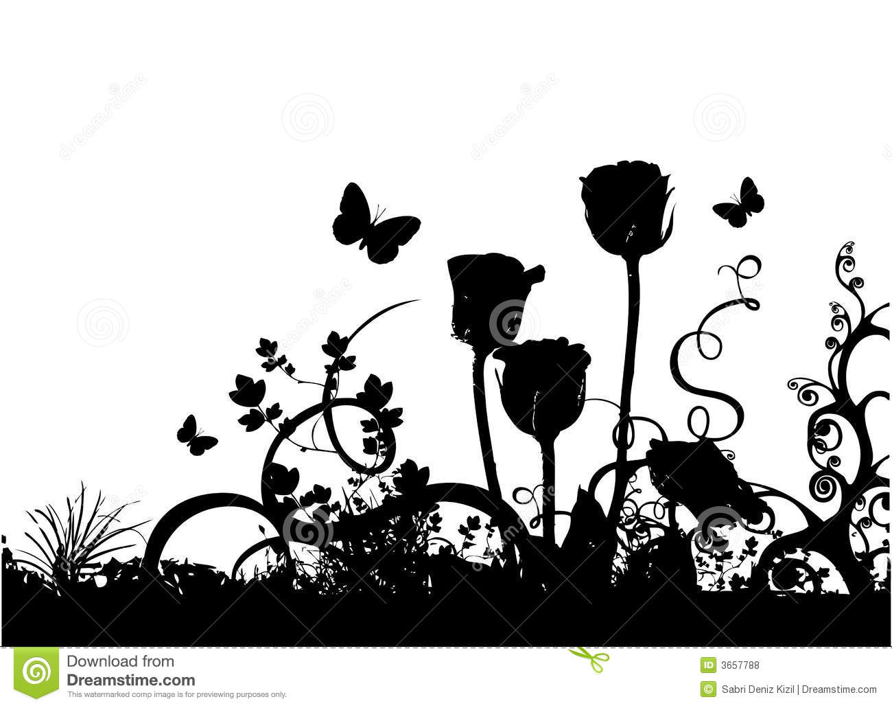 Roses And Butterfly Vector Royalty Free Stock Photos - Image: 3657788