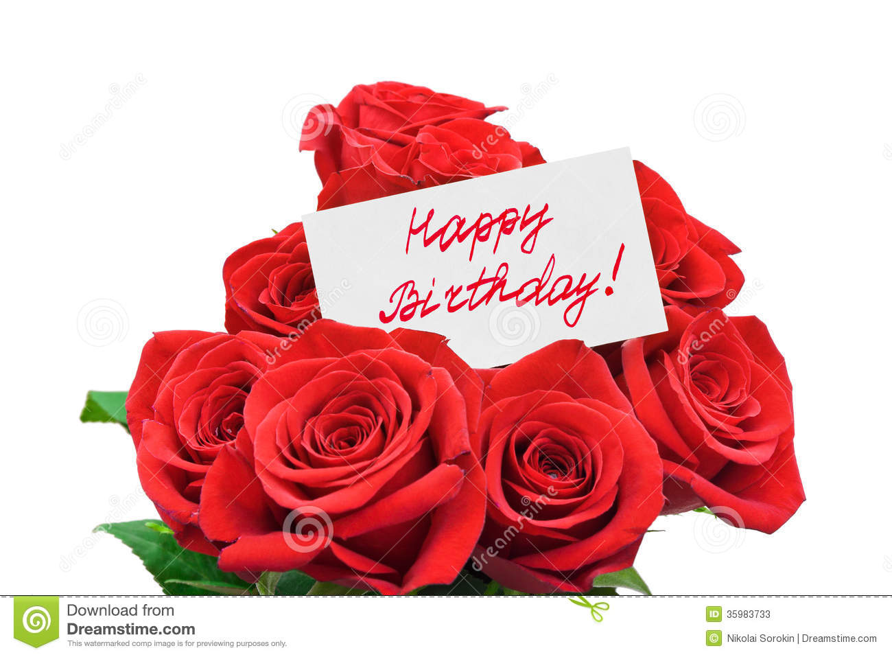 Roses And Card Happy Birthday Stock Image Image Of Happiness