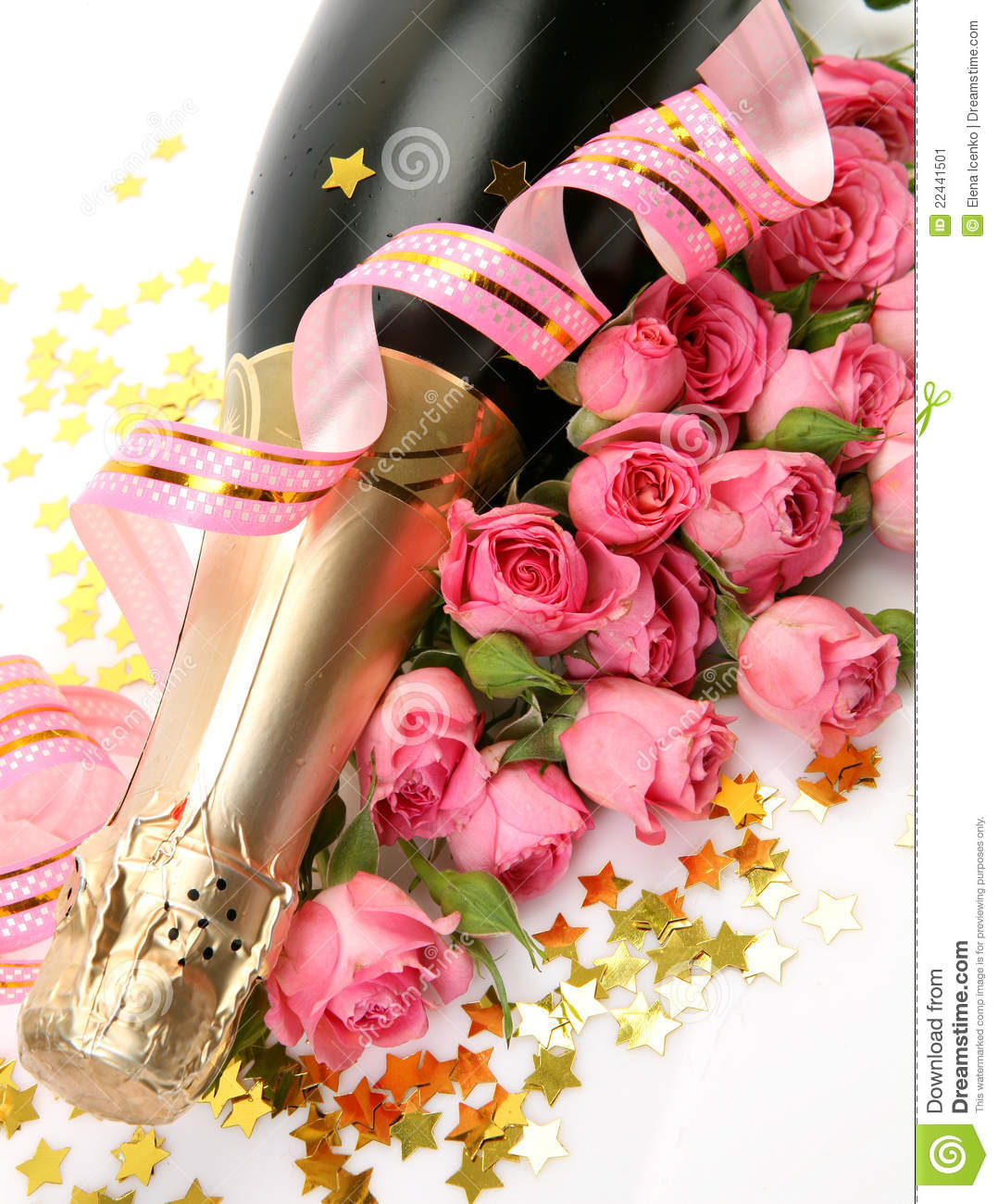 Roses And Champagne Stock Image Image Of Petal Bottle