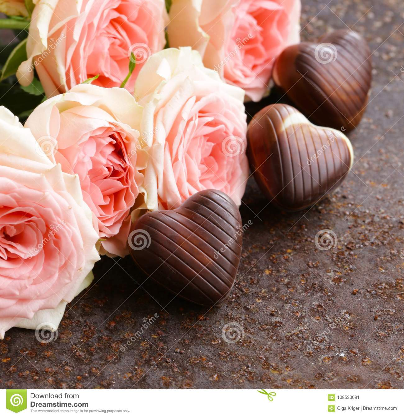 Roses And Chocolate For Valentines Day Stock Image Image Of