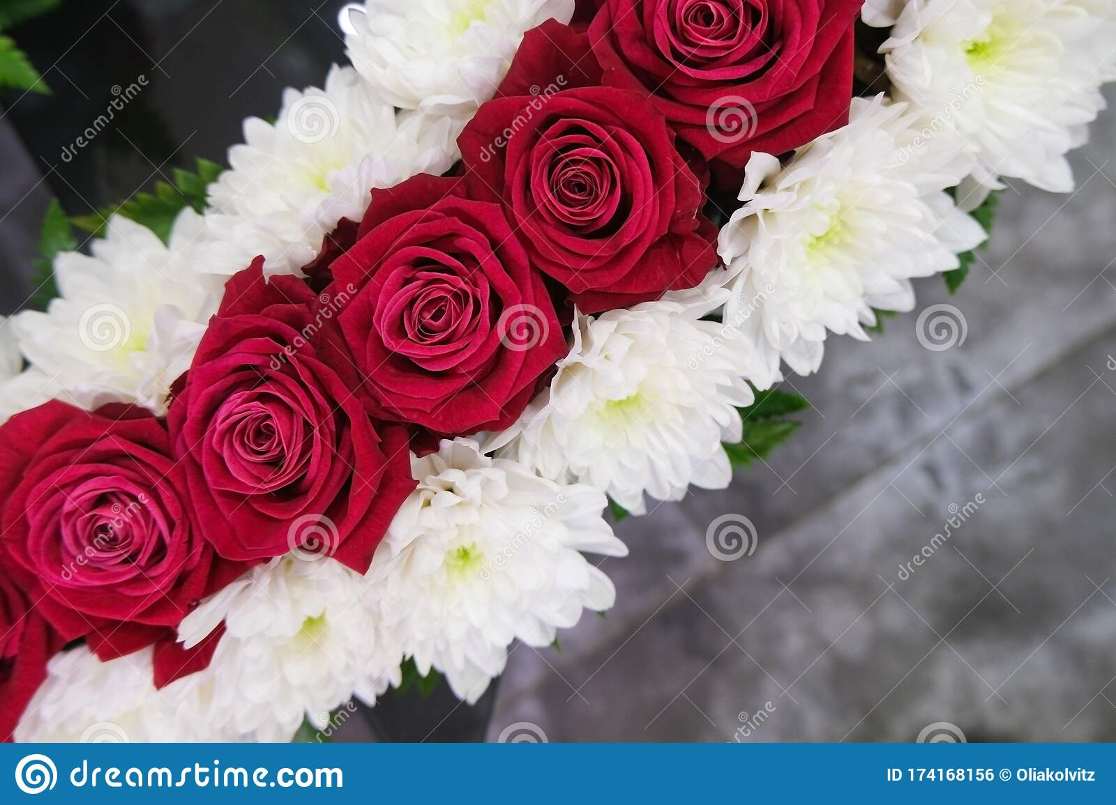 Roses And Chrysanthemum Flowers Arrangement White And Red Roses Small Cute Flowers Stock Photo Image Of Concept Colorful 174168156