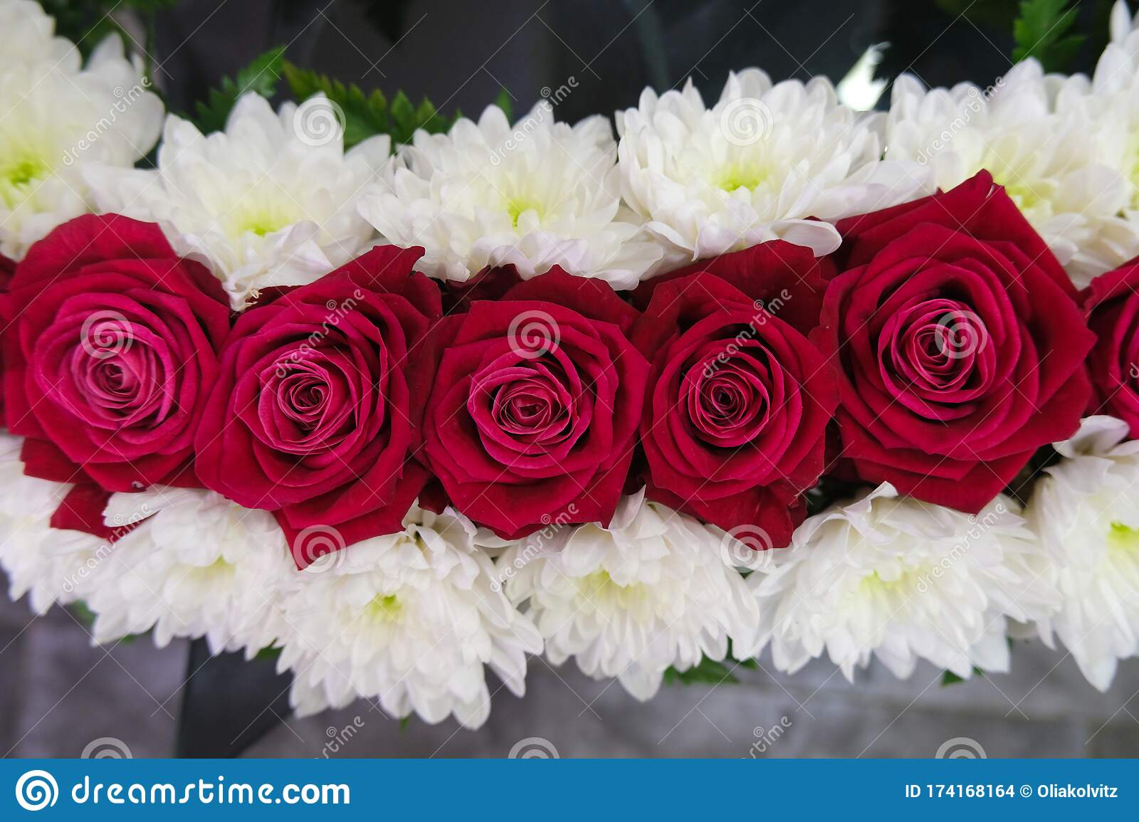 Roses And Chrysanthemum Flowers Arrangement White And Red Roses Small Cute Flowers Stock Photo Image Of Florist Decorative 174168164