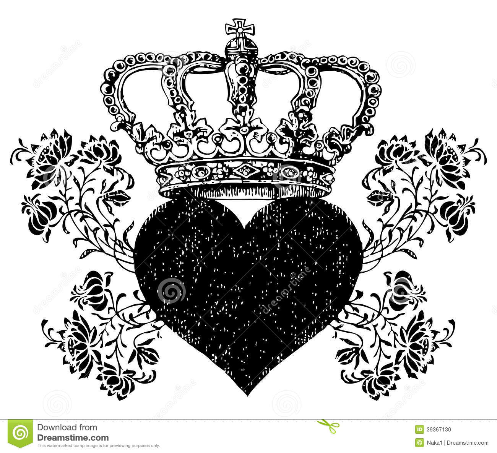Roses Crucifix Design Crown Roses Heart Stock Illustration