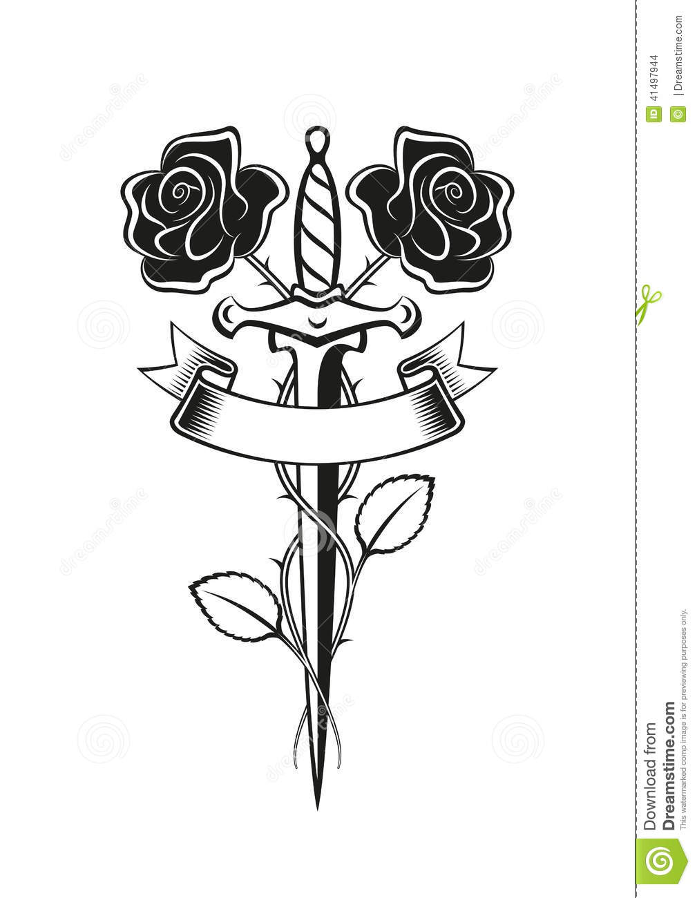 Roses Dagger Tattoo Stock Vector Illustration Of Vector 41497944