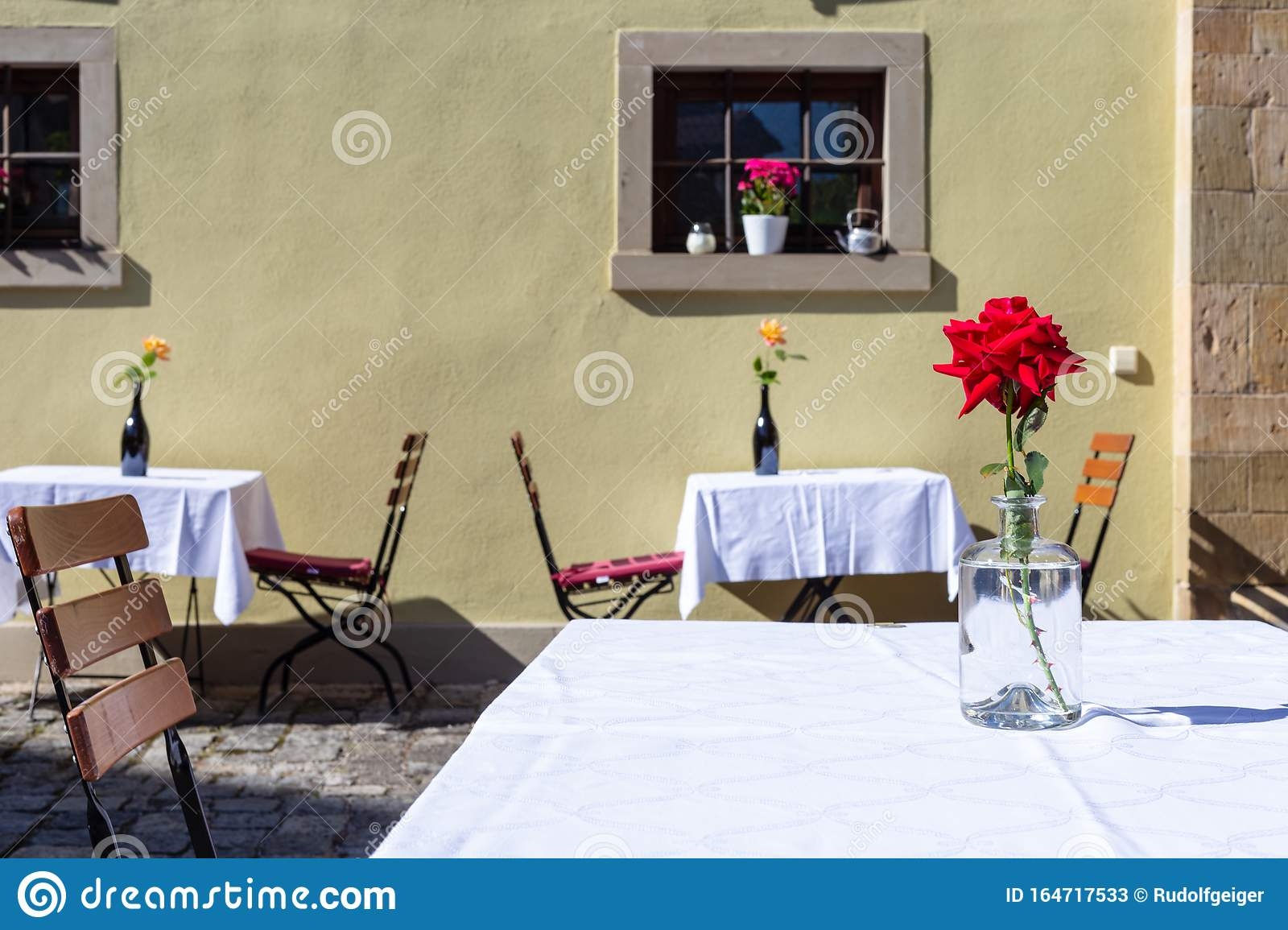 Roses Decoration In Restaurant Garden Stock Image Image Of Restaurant Chair 164717533