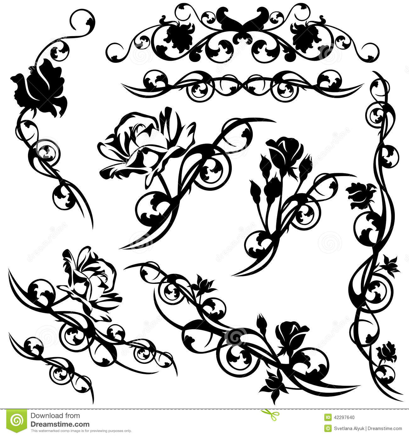 Roses Design Set Stock Vector Illustration Of