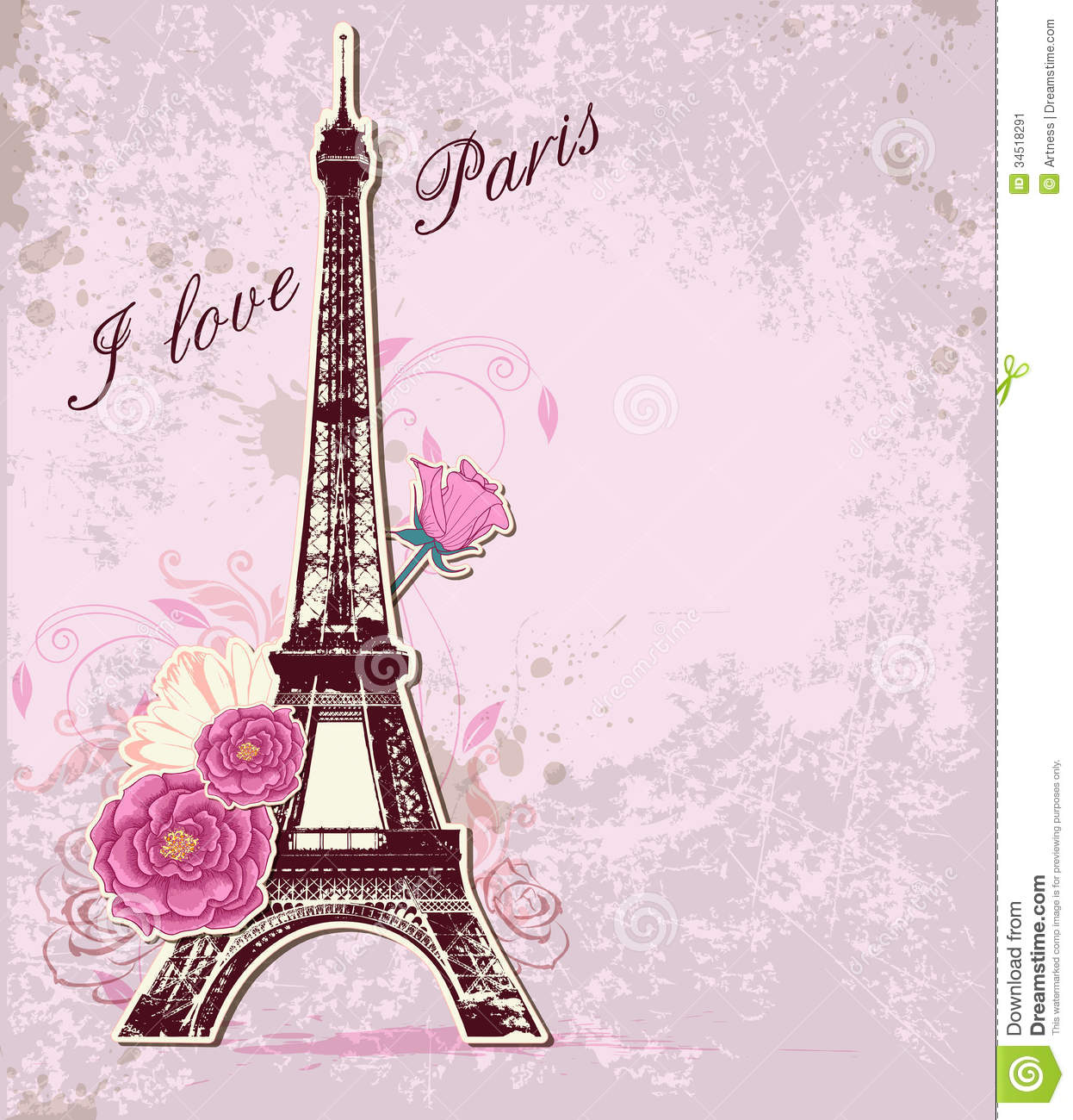 As Creation Pink Paris Pattern Eiffel Tower Childrens: Roses And Eiffel Tower Stock Vector. Illustration Of