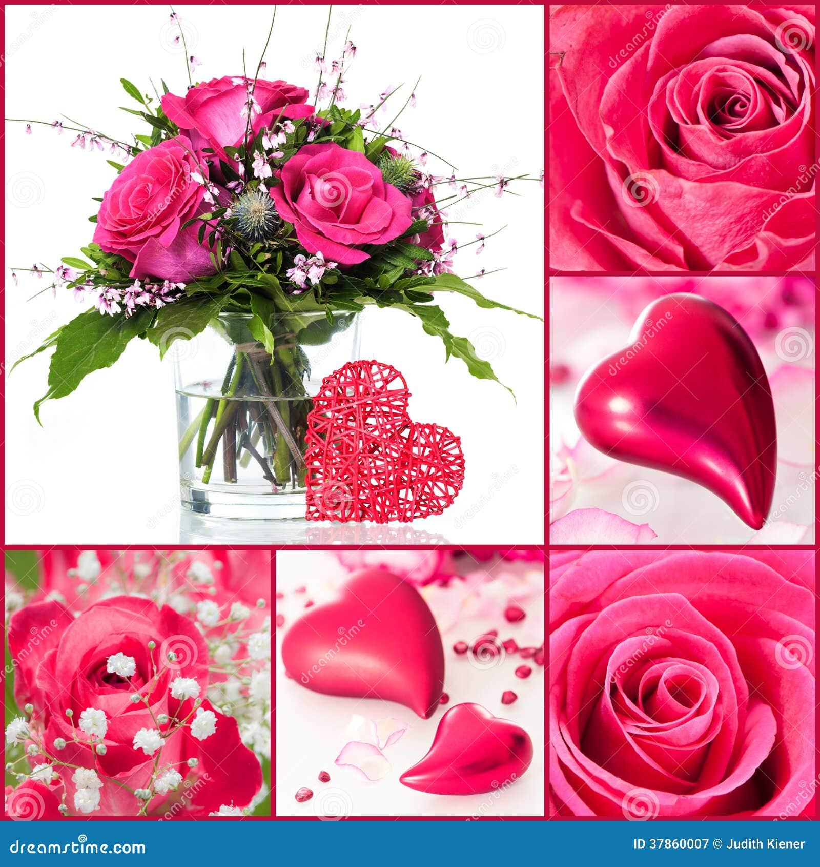 Roses et collage de coeurs