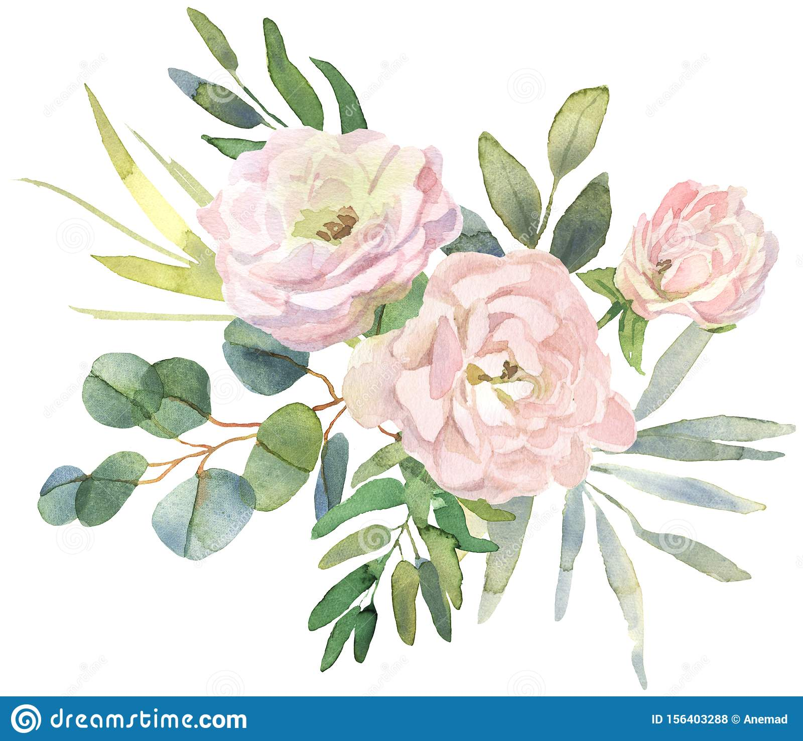 Roses And Eucalyptus Bouquet Stock Illustration Illustration Of Flower Lush 156403288