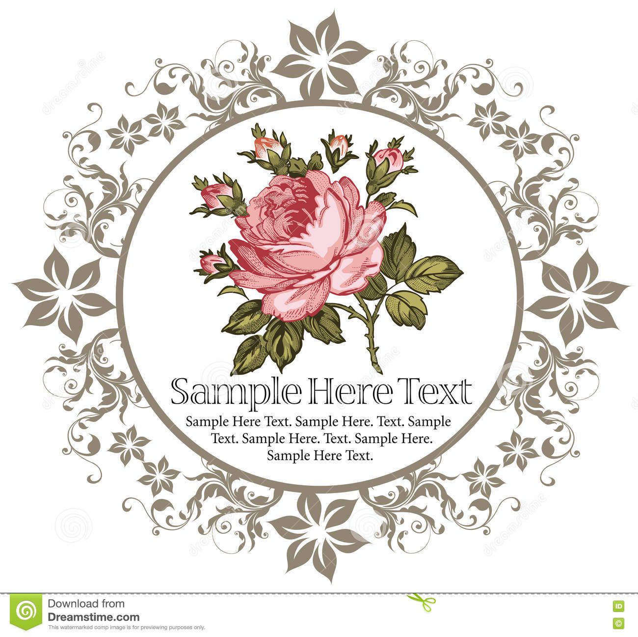 Roses Floral Wildflowers Frame Label Card Drawing Engraving Vector Victorian Illustration