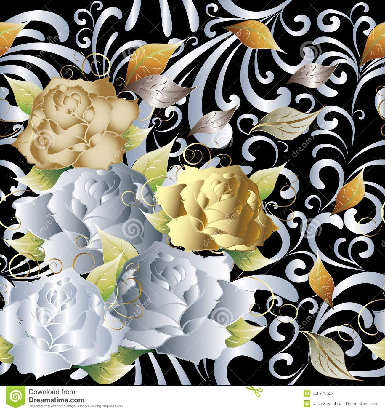 Gold And White 3d Roses Stock Vector Illustration Of Green 106770532