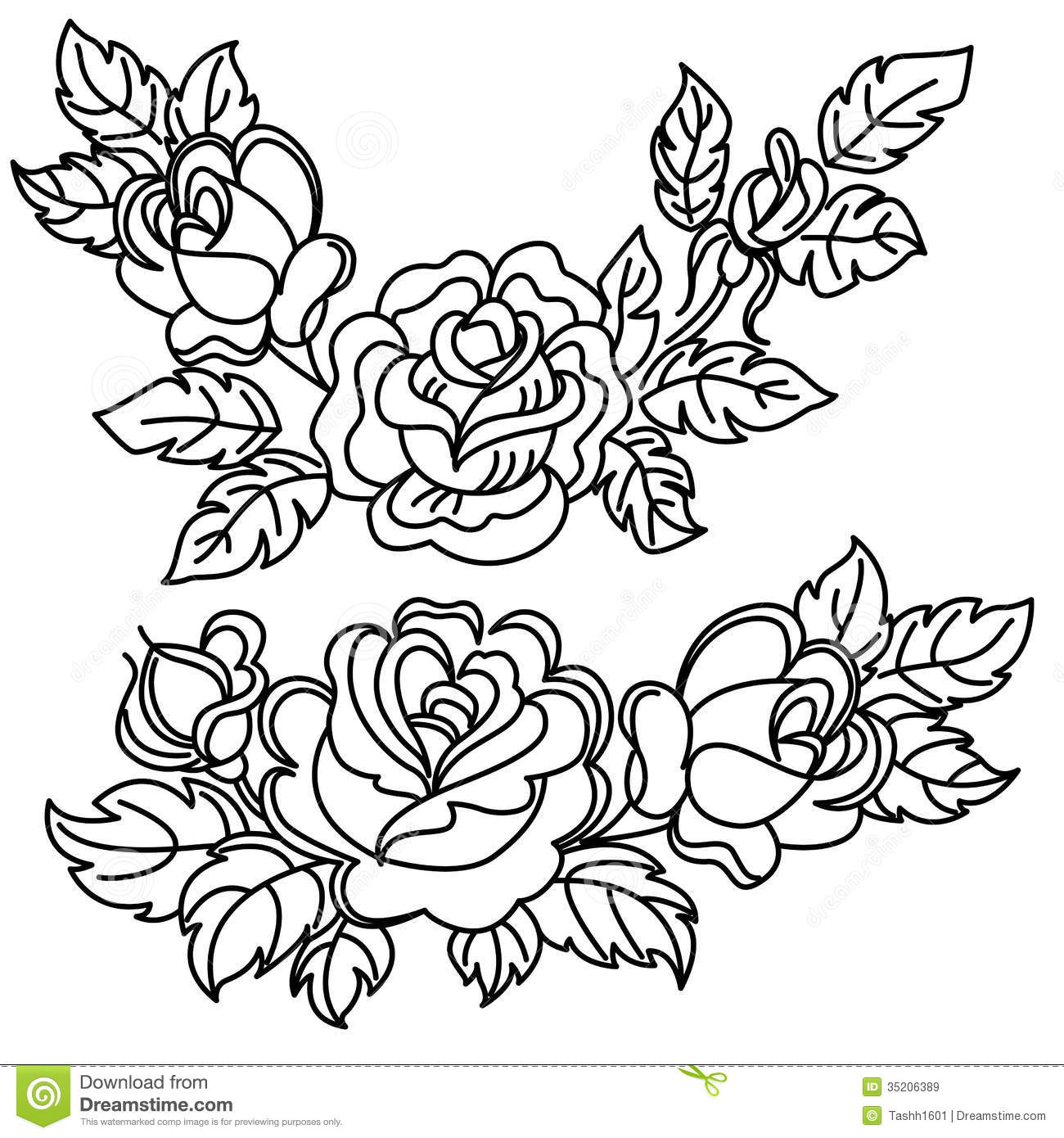 Flower Leaf Line Drawing : Roses stock illustration of ornaments curve