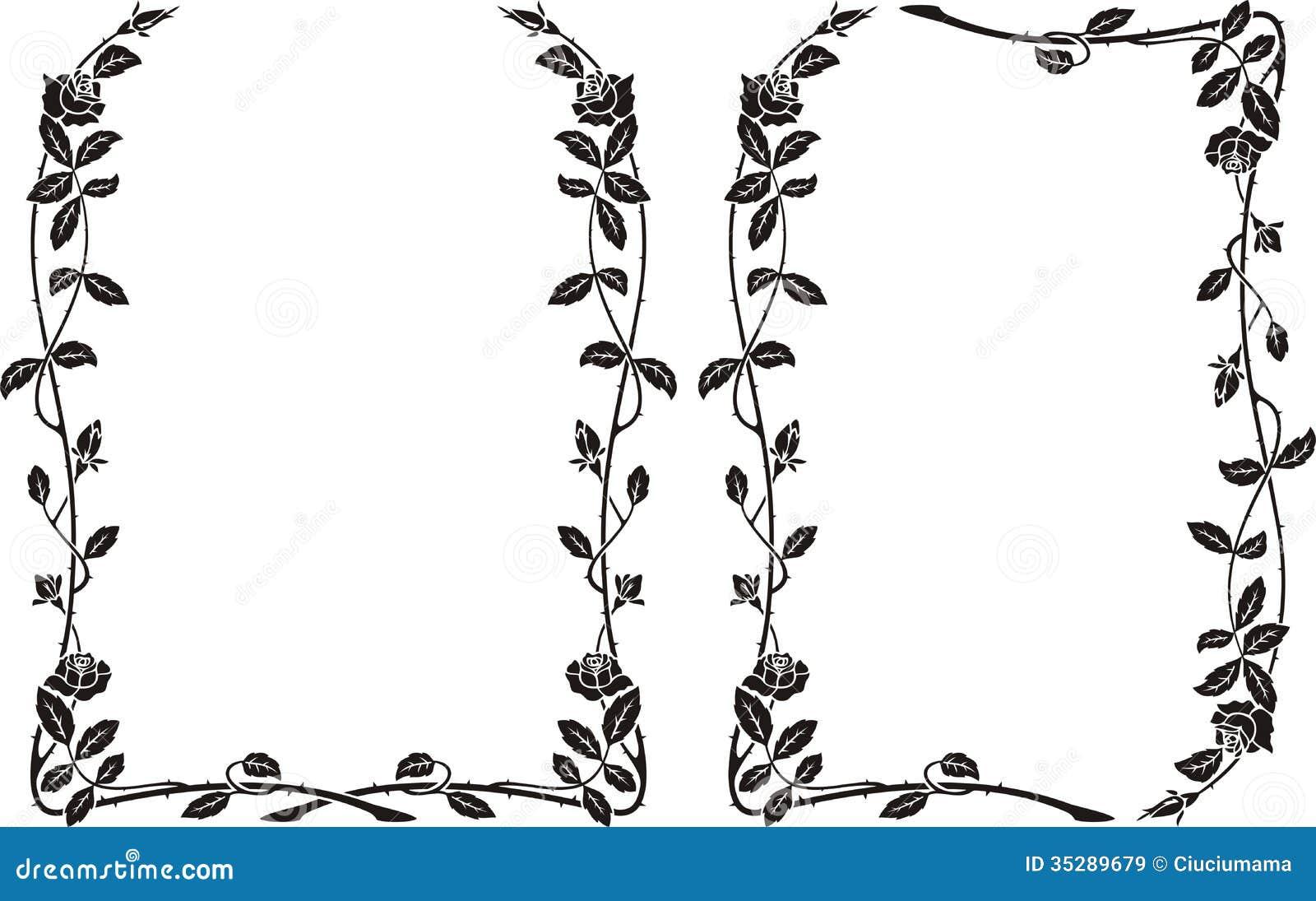 Roses frame stock vector. Illustration of frame, silhouette - 35289679