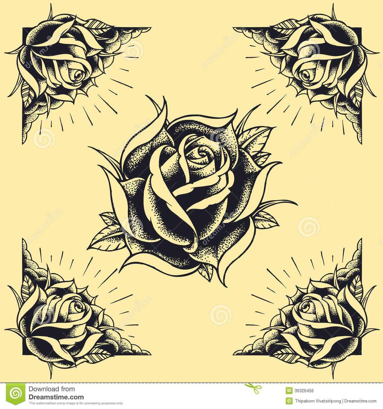 Roses And Frame Tattoo Style Design Set 02 Stock Vector