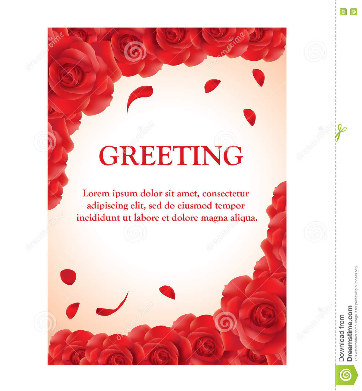 Roses Greeting Card Template Stock Vector Illustration Of