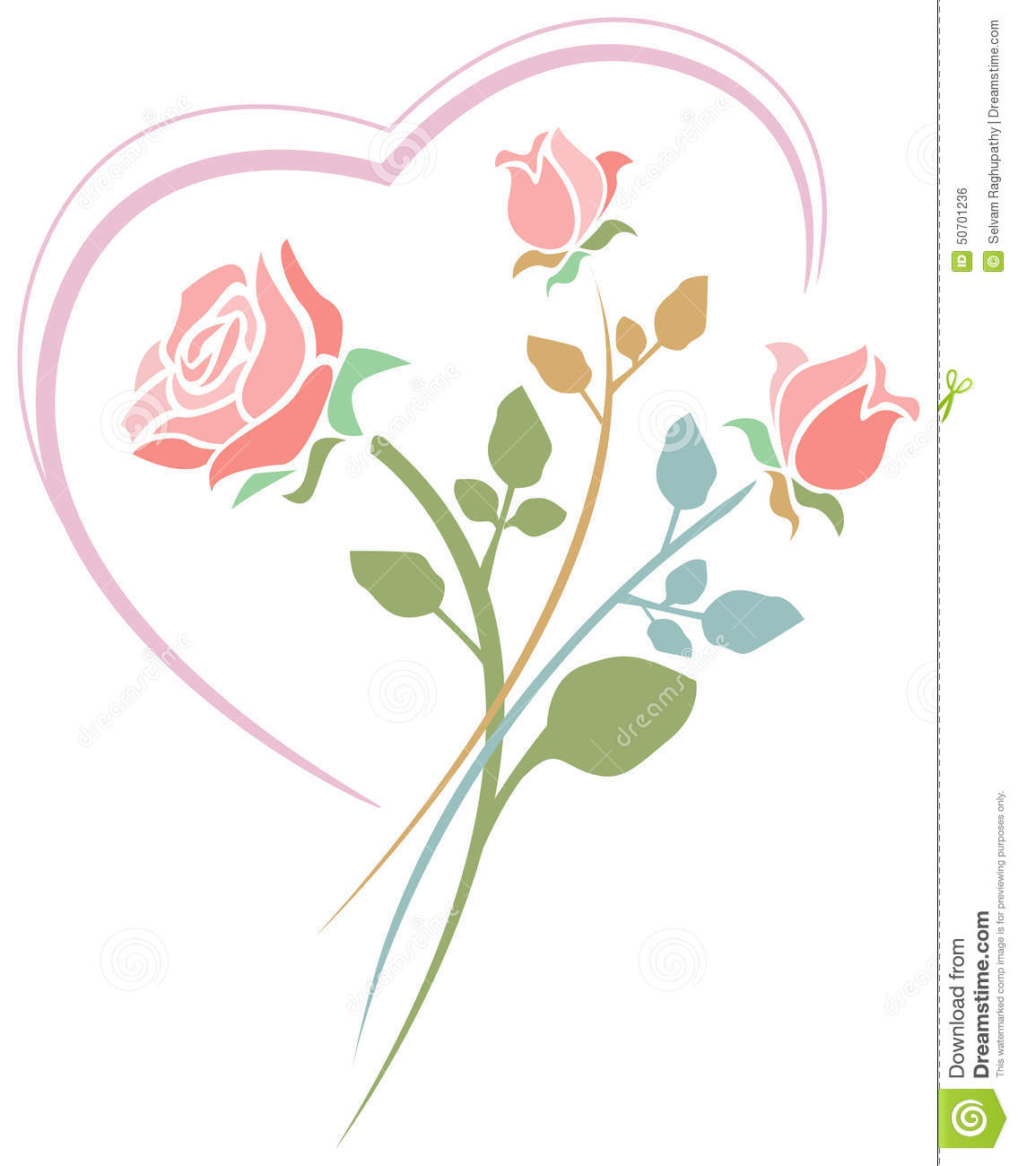 Heart Line Art Design : Roses with heart stock vector image