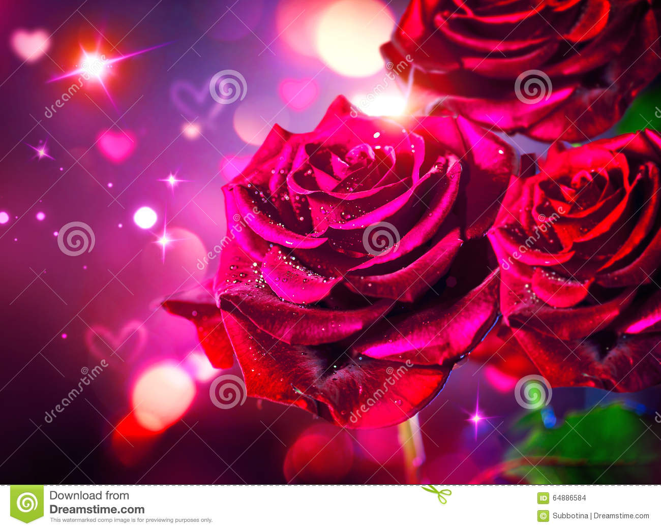 Roses And Hearts Background. Valentines Day Stock Photo - Image of ...