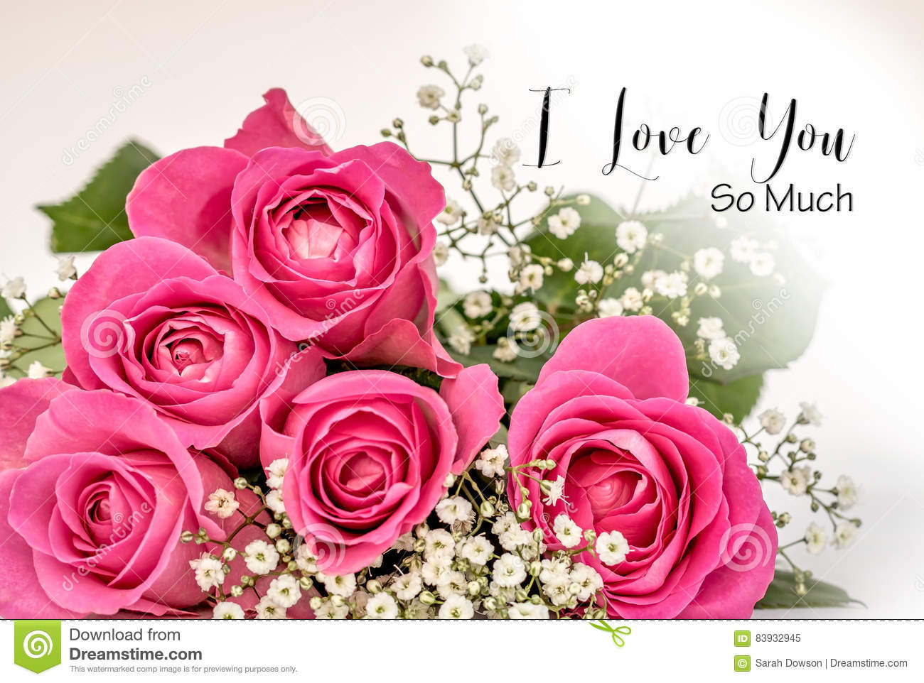 Roses I Love You So Much Card Stock Illustration Illustration Of