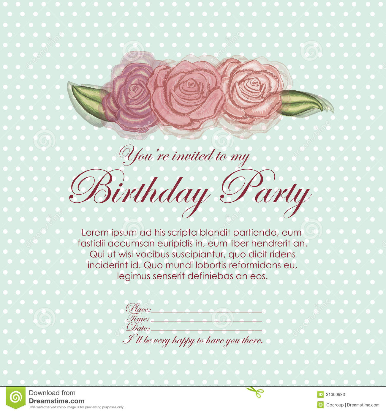 Roses invitation birthday stock vector. Image of happy ...