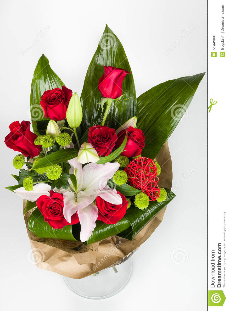 Flower Bouquet And Lily Arrangement Top View Stock Image Image Of