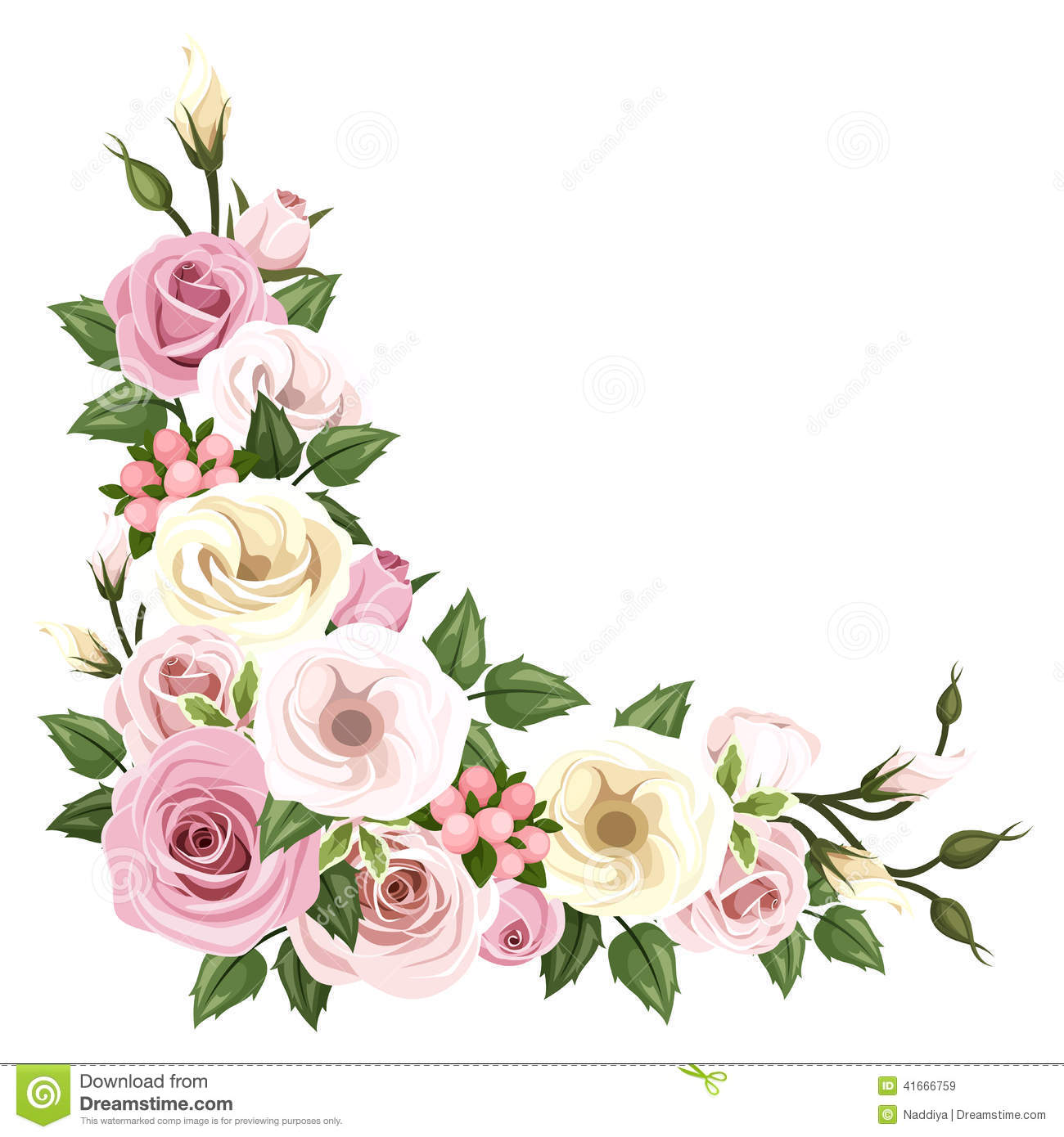 Roses And Lisianthus Flowers Vector Corner Background Stock Vector