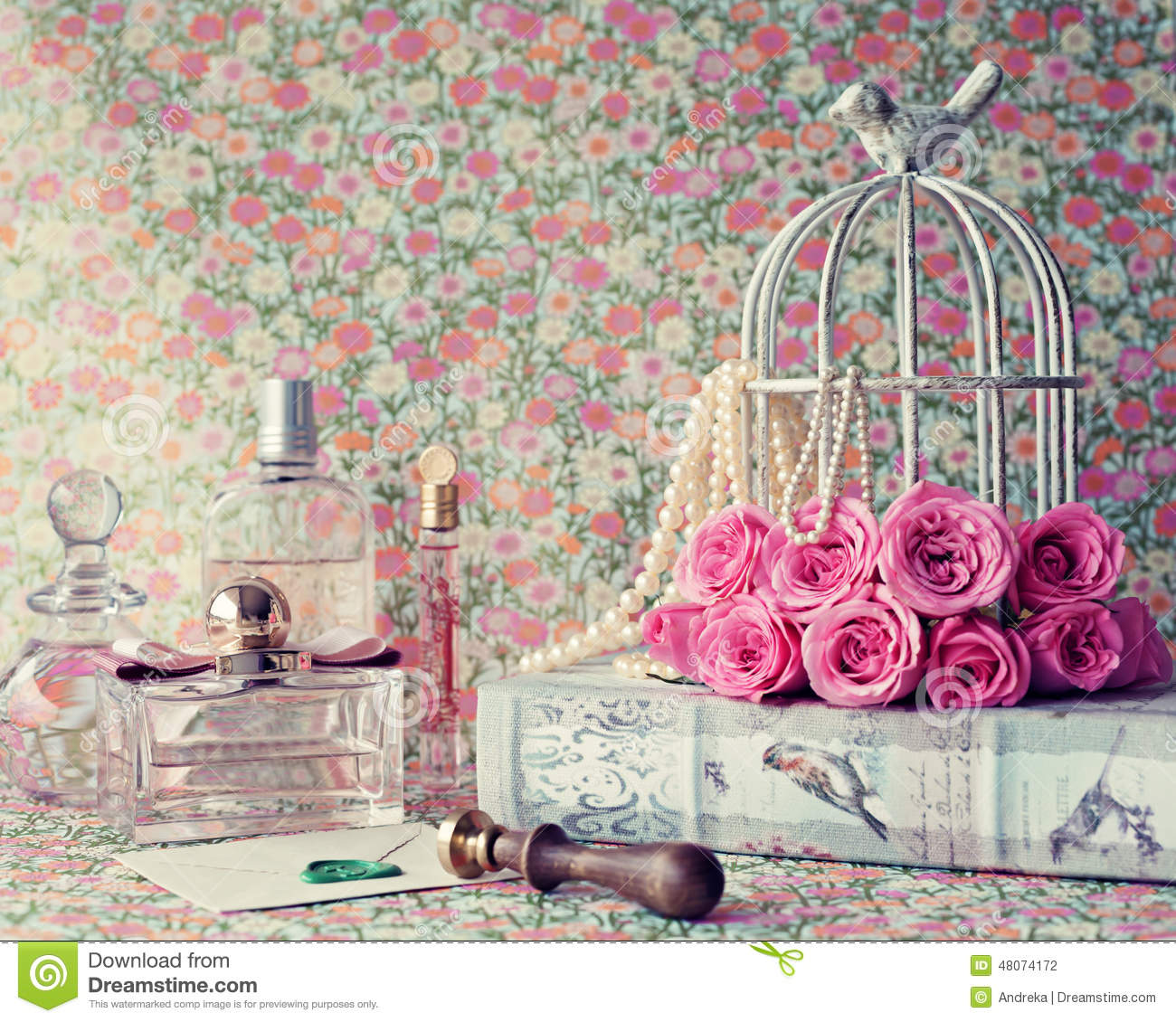 Https Www Dreamstime Com Stock Photo Roses Over Vintage Book Perfume Bottle Lacre Seal Image48074172