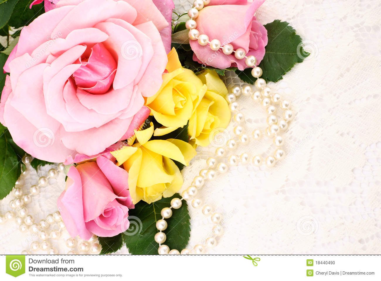 Roses And Pearls Stock Photo - Image: 18440490