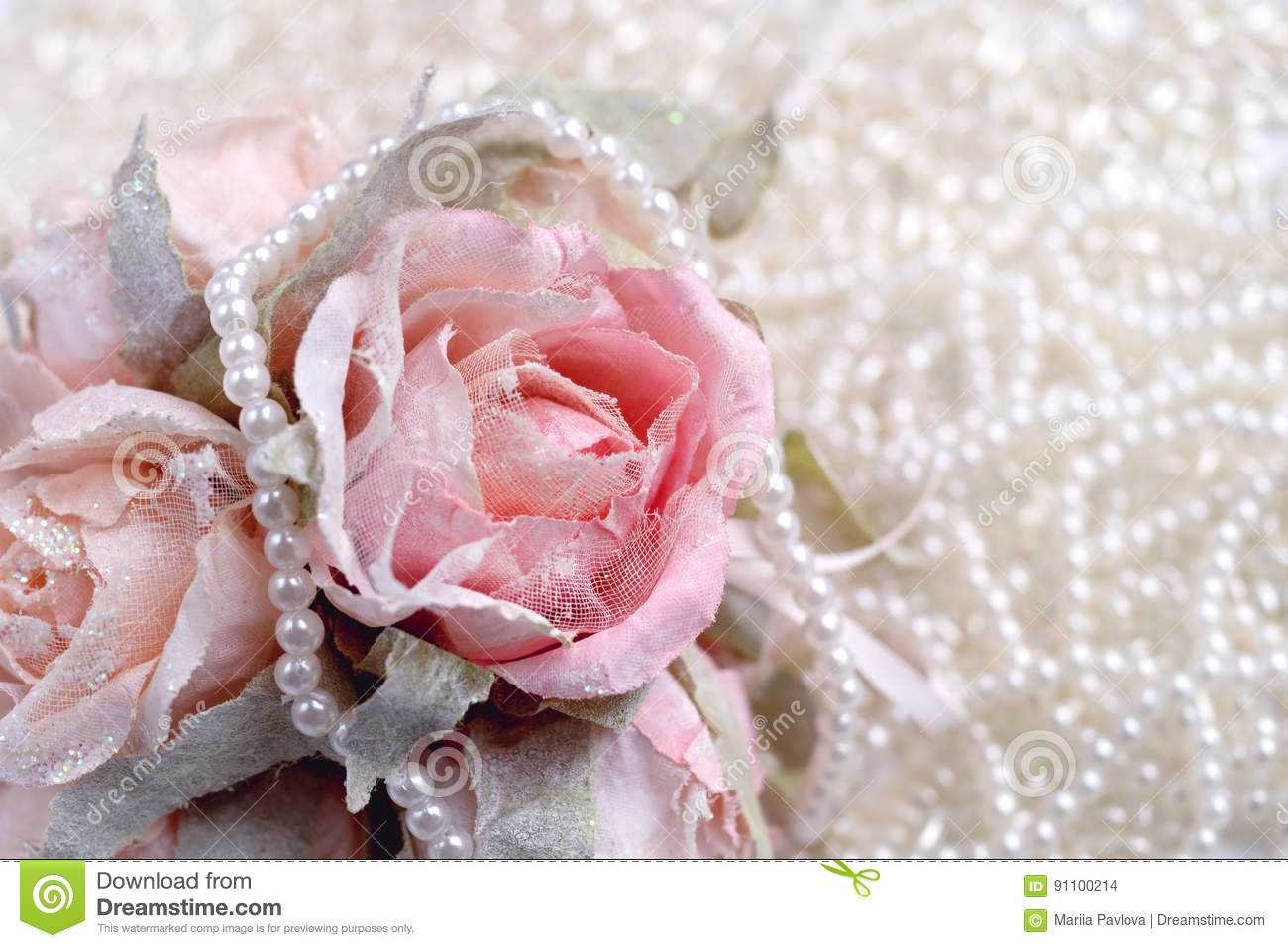 Pictures of pink roses and pearls