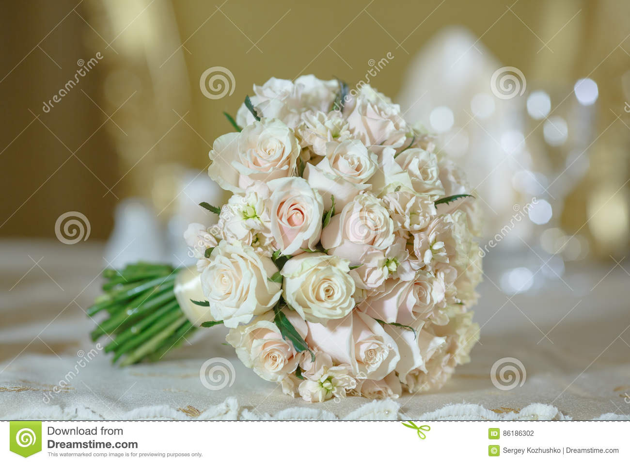 Roses Peony Wedding Bouquet White Gold Color Decoration Stock Photo