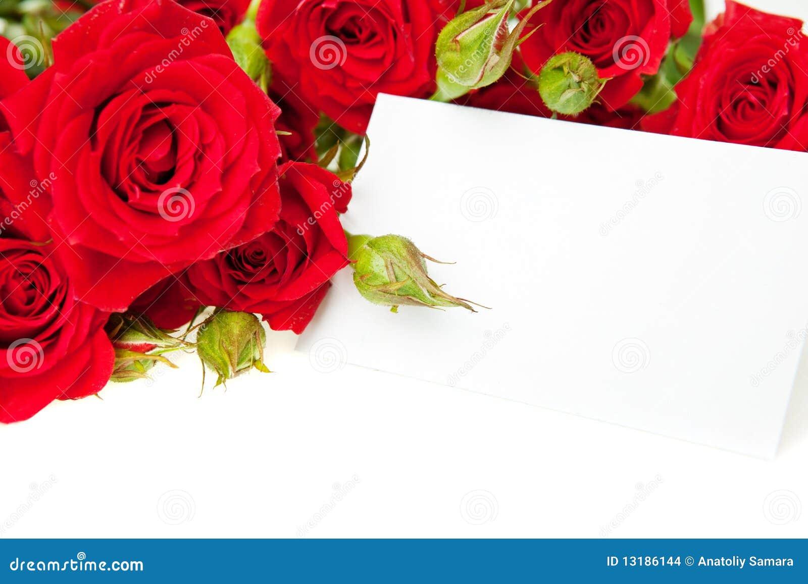 Préférence Roses Rouges Et Carte Vierge D'invitation Images stock - Image  DC34