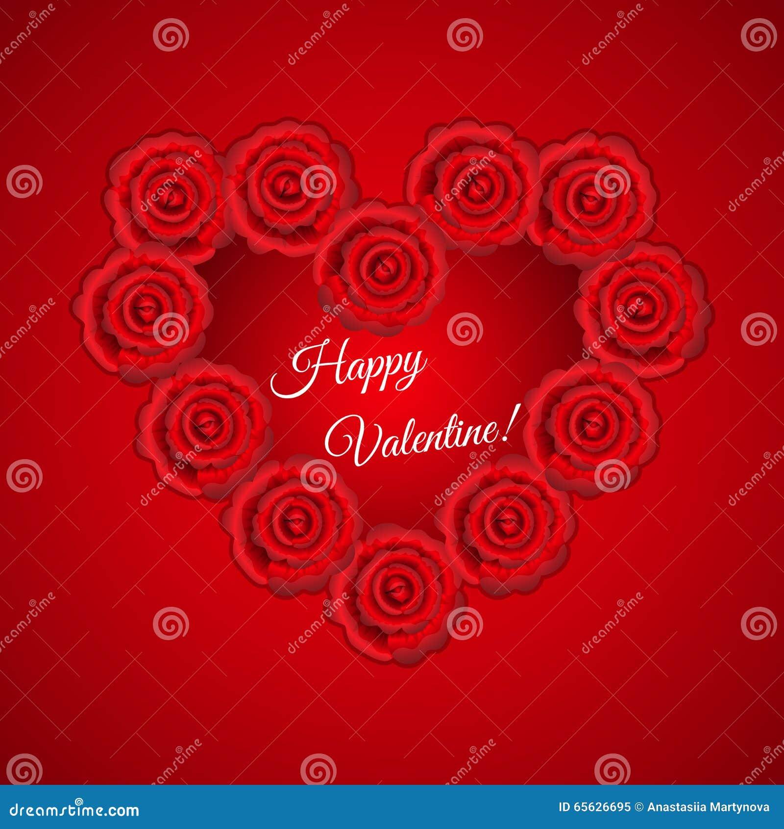 Roses rouges formées par cadre de coeur pour la valentine