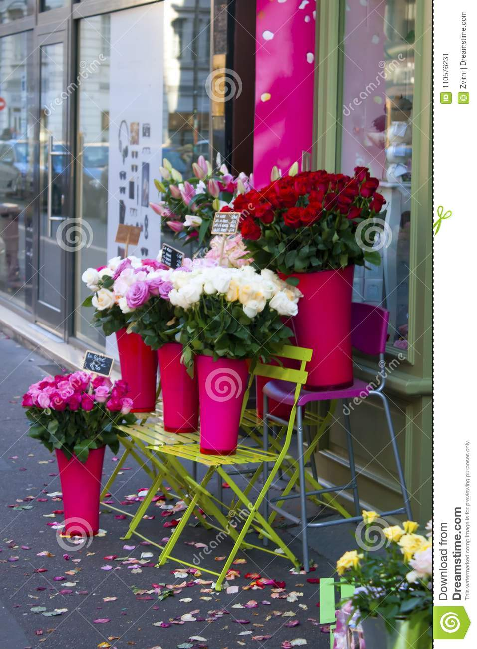 Roses for sale on the sidewalk