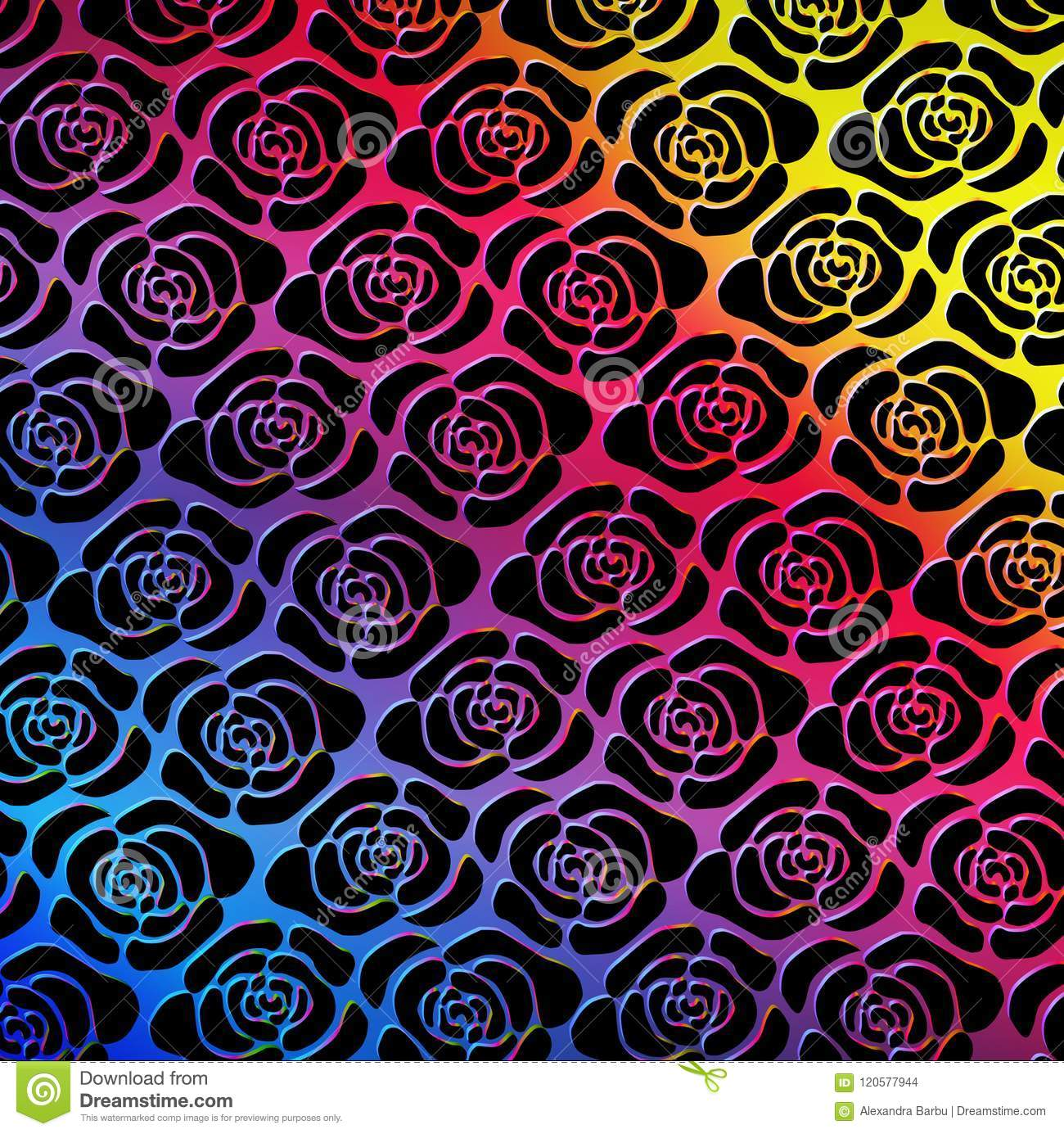 Roses Seamless Pattern Rainbow Background Stock Vector