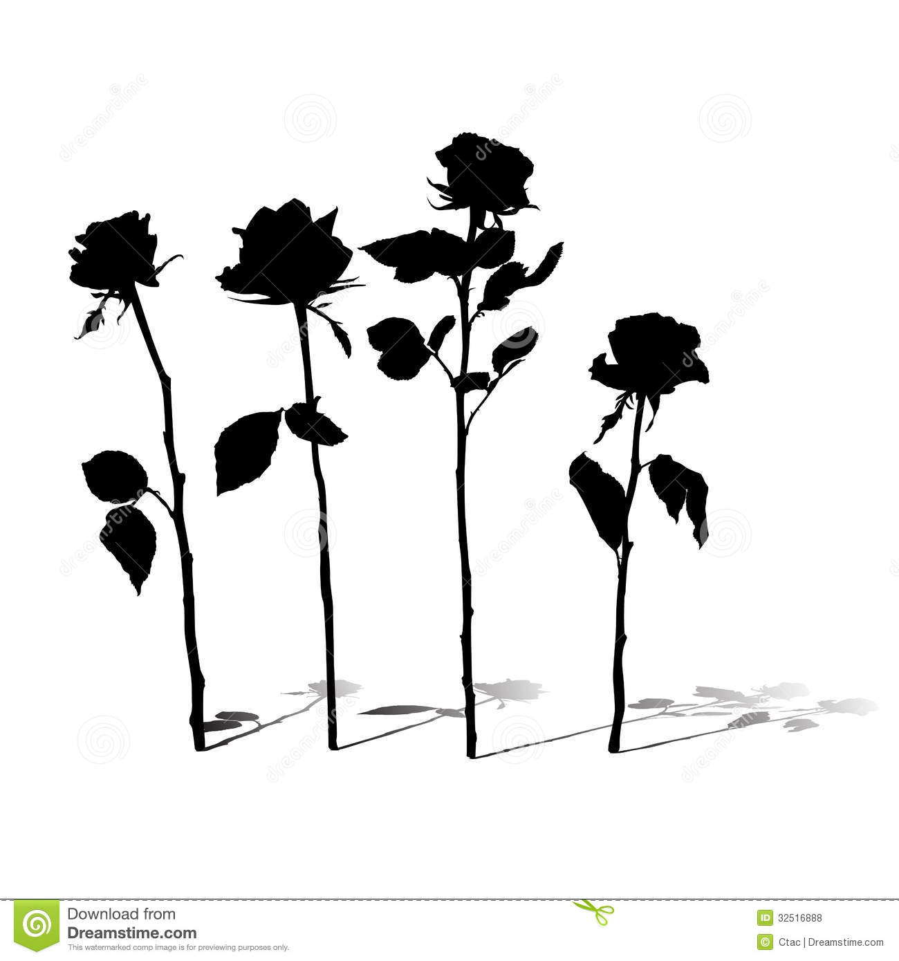 Spring Silhouettes And Shadows >> Roses silhouettes stock illustration. Image of abstract - 32516888