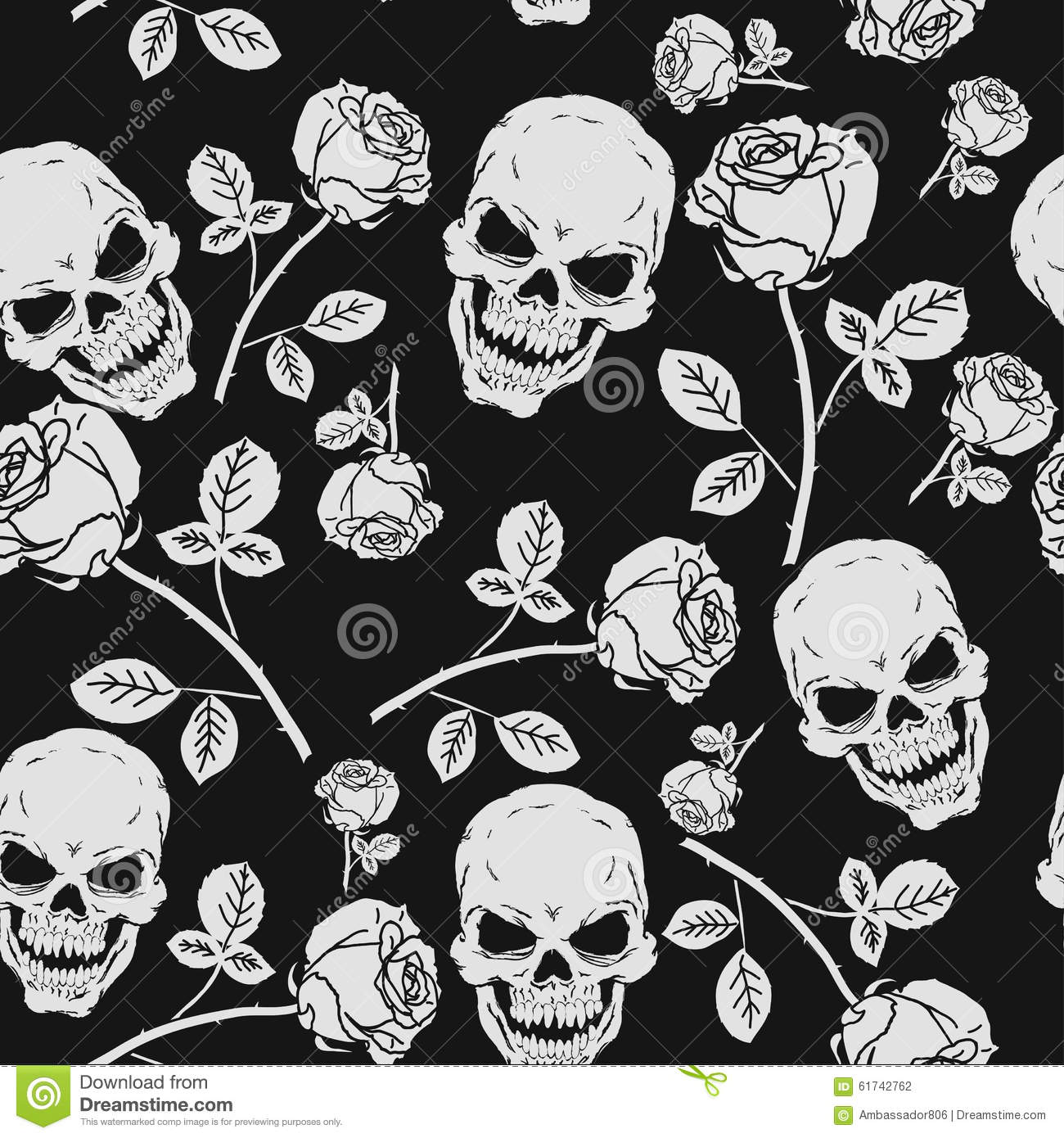 Roses And Skulls Seamless Pattern Stock Vector Illustration Of