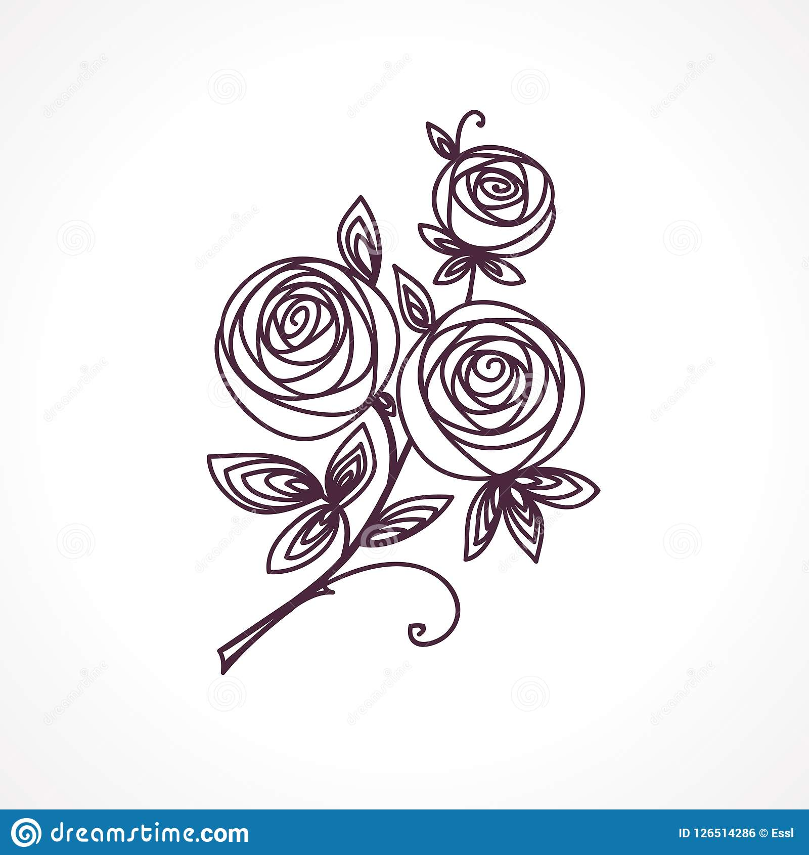 Roses stylized flower bouquet hand drawing outline icon symbol stylized flower bouquet hand drawing outline icon symbol present for wedding izmirmasajfo