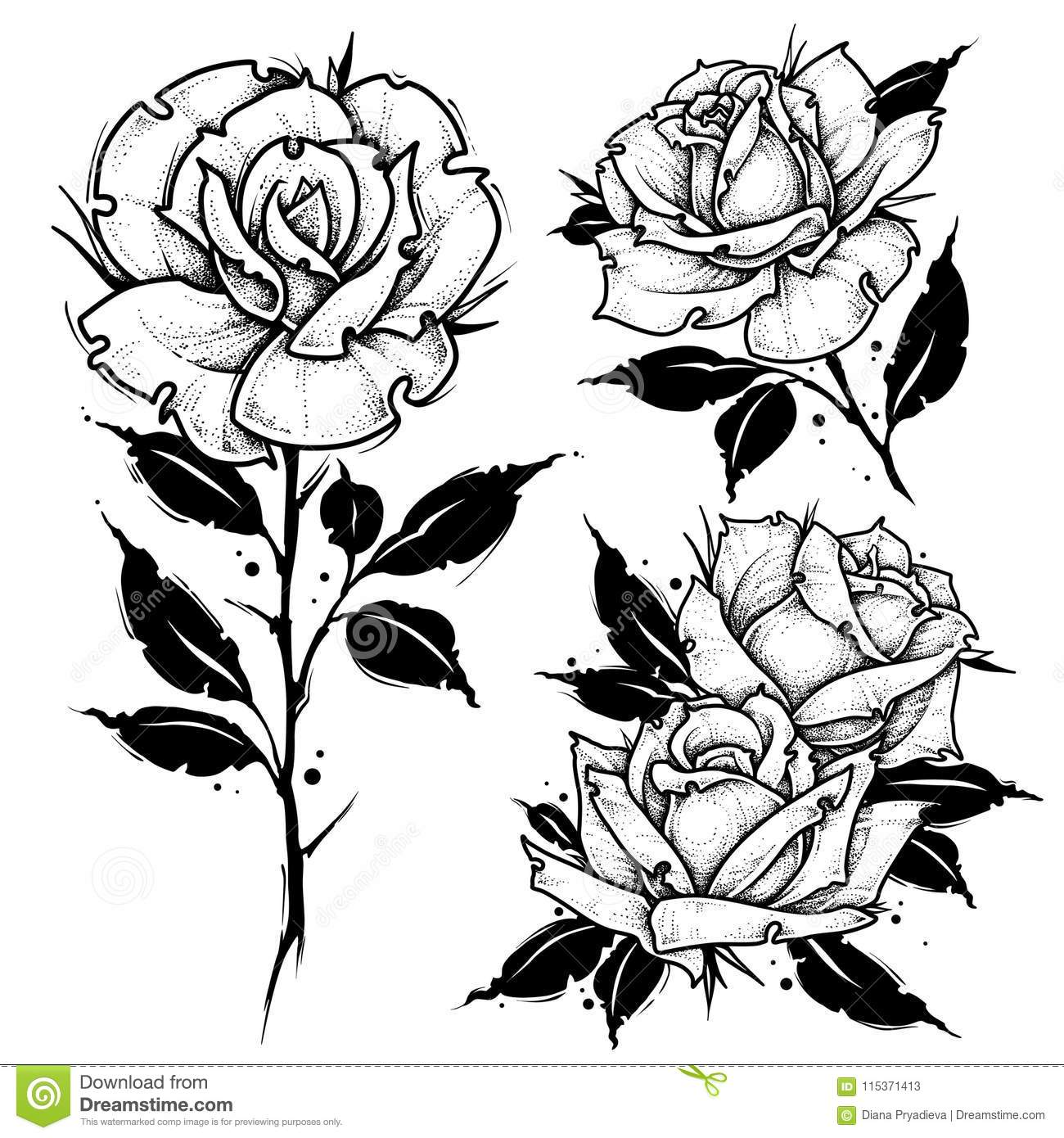 Roses Tattoo Dot Work Vector Illustration Stock Vector