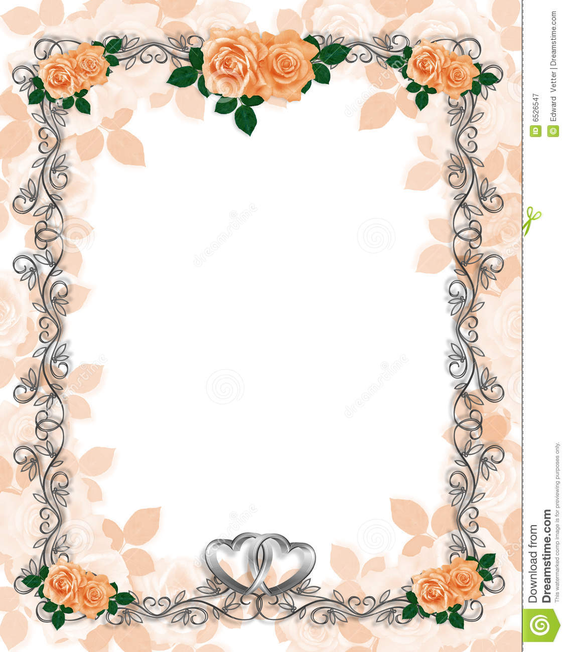 Roses template wedding invitation peach stock illustration for Wedding invitation page borders free download