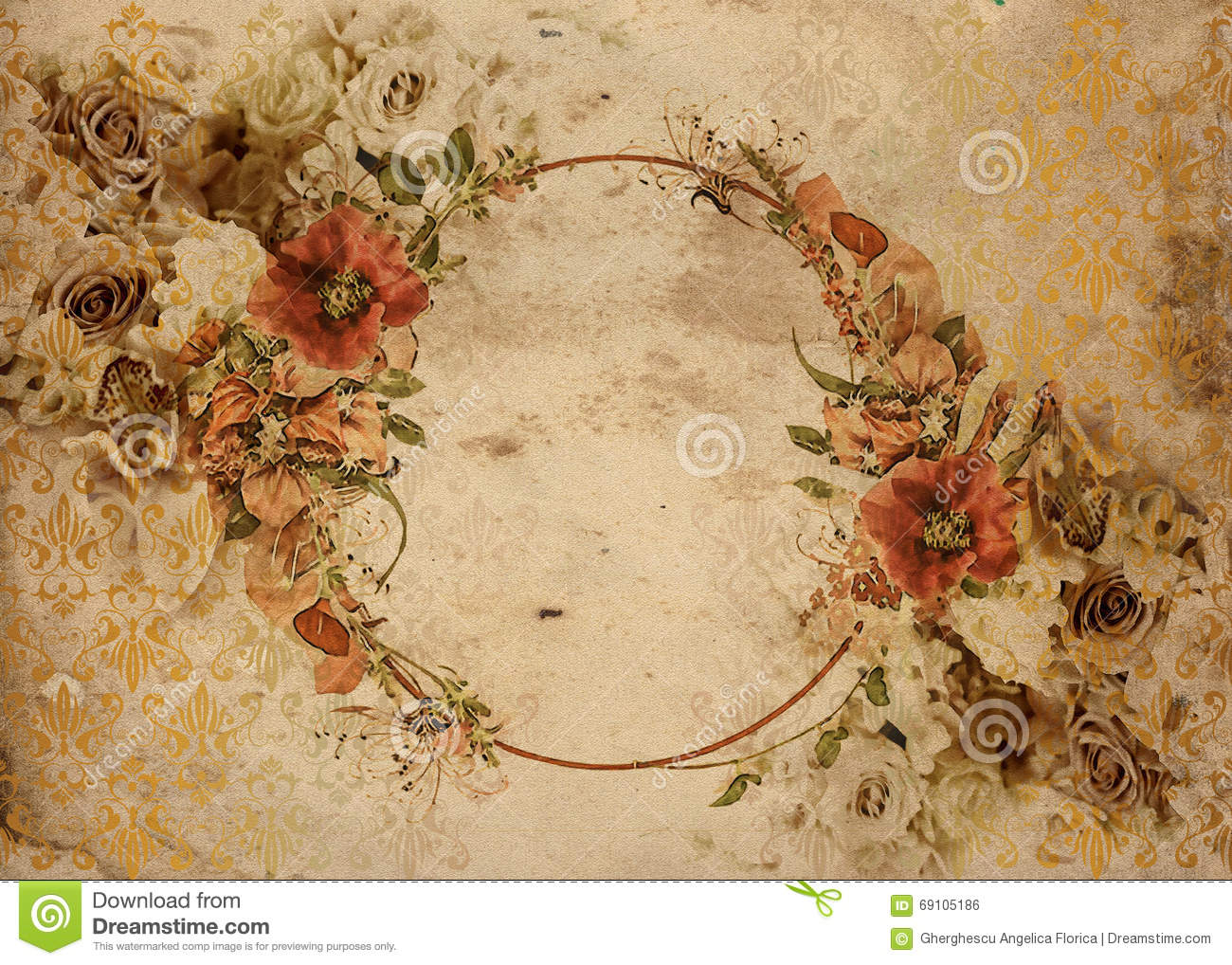 vintage flower garland shabby chic background stock illustration