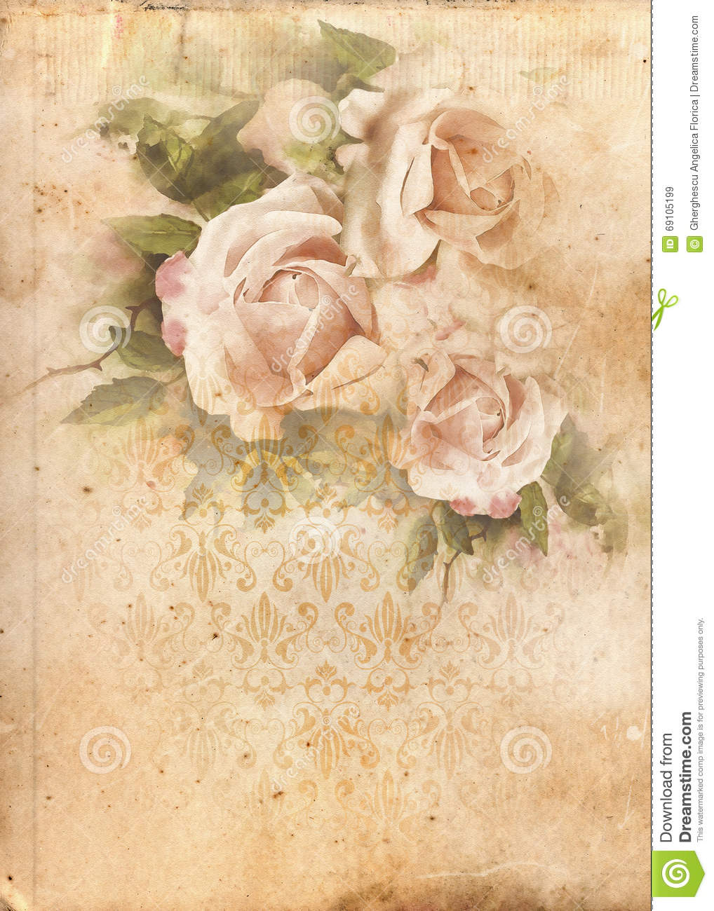 roses vintage shabby chic background stock illustration. Black Bedroom Furniture Sets. Home Design Ideas