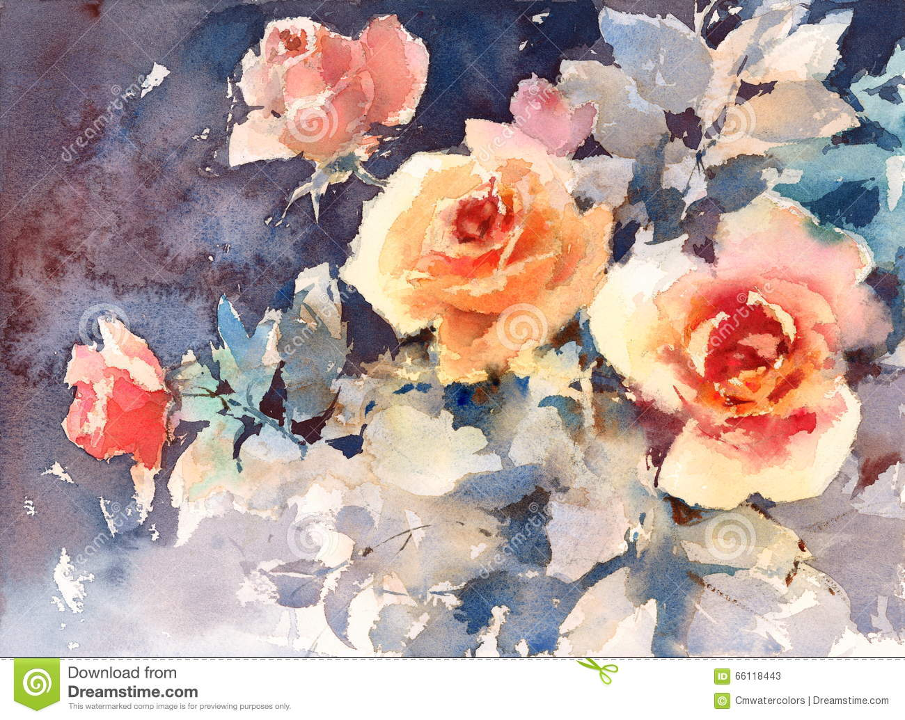 Roses Watercolor Flowers On Dark Background Illustration Hand