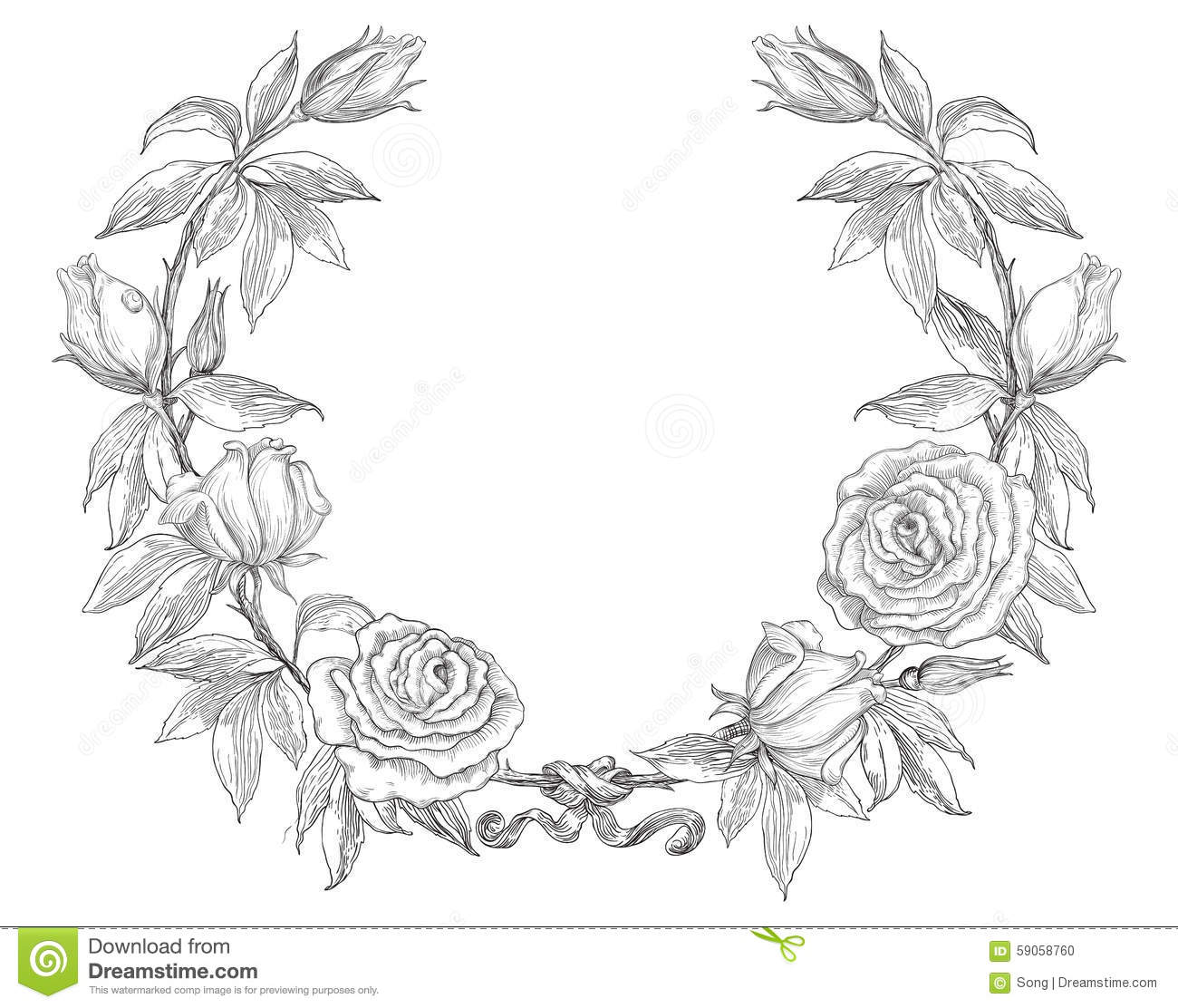 Flower Circle Line Drawing : Roses wreath stock vector illustration of hand greeting