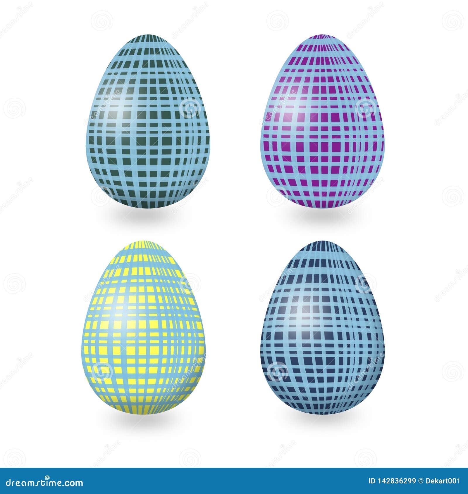 RoSet de los huevos de Pascua con el ornamento geométrico abstracto con azul, púrpura, amarillo, Líneas Verdes en el backgund bla