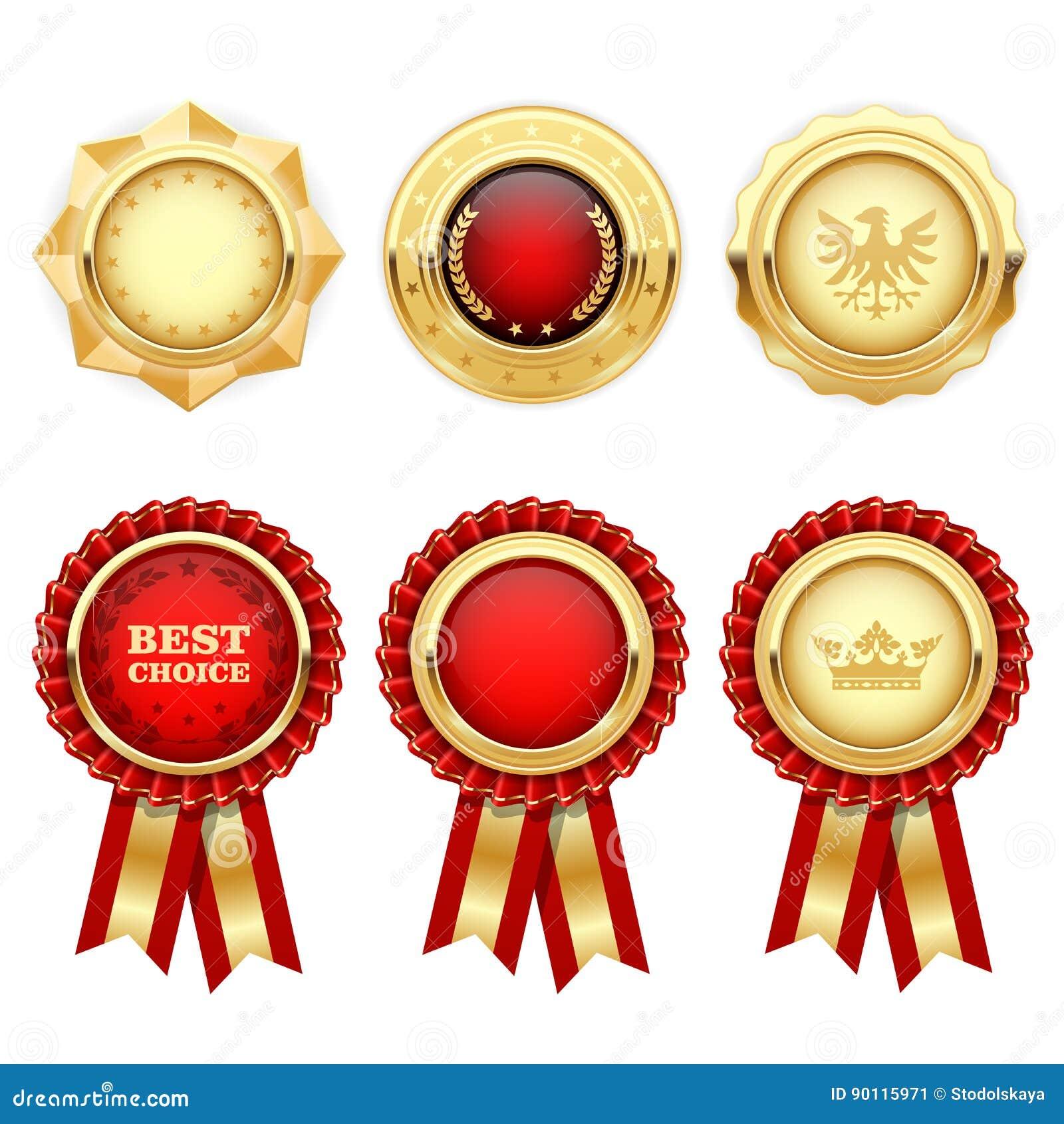 Rosetas vermelhas da concessão e medalhas heráldicas do ouro