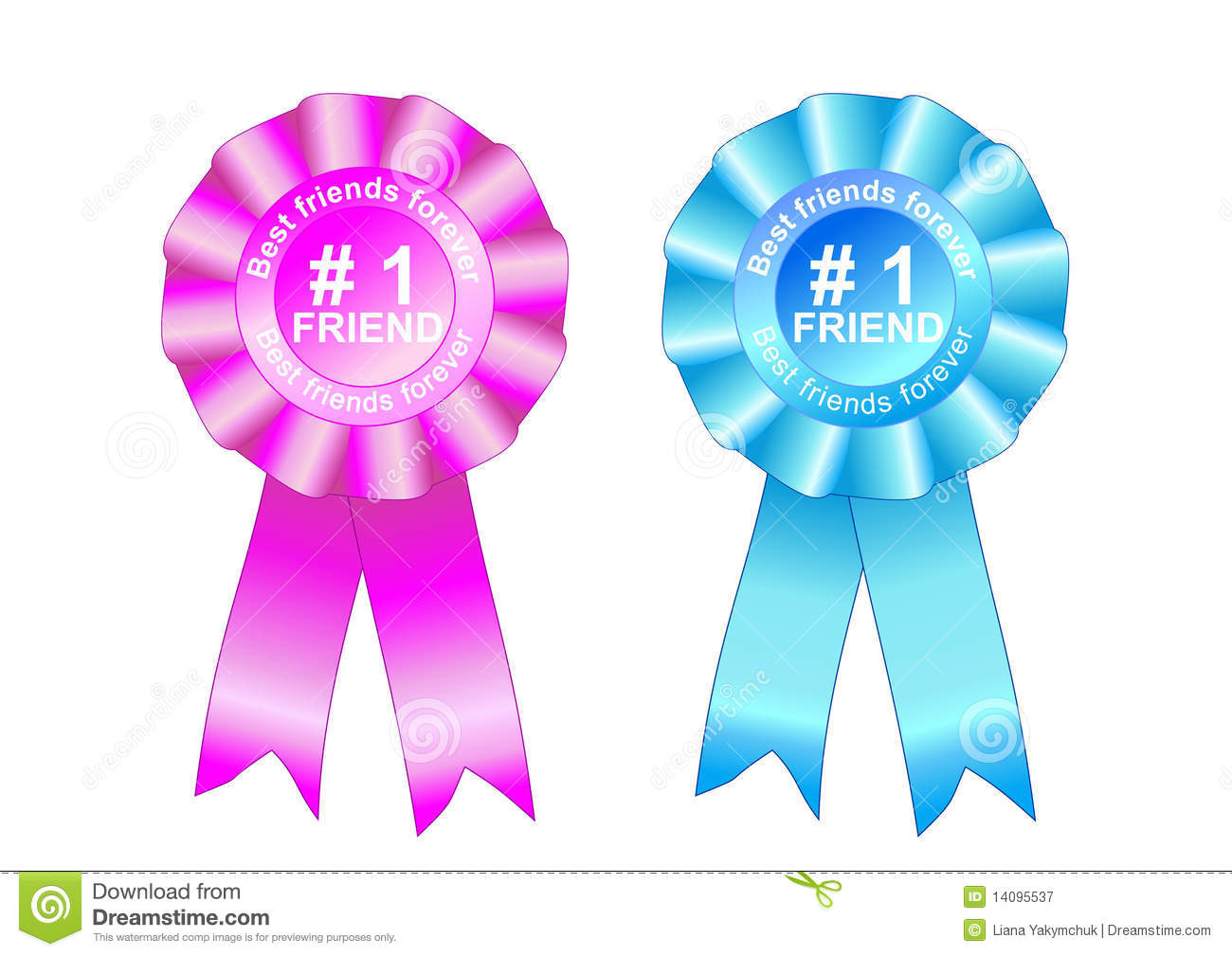 Rosette Award Best Friends Forever Blue And Pink Royalty Free Stock ...
